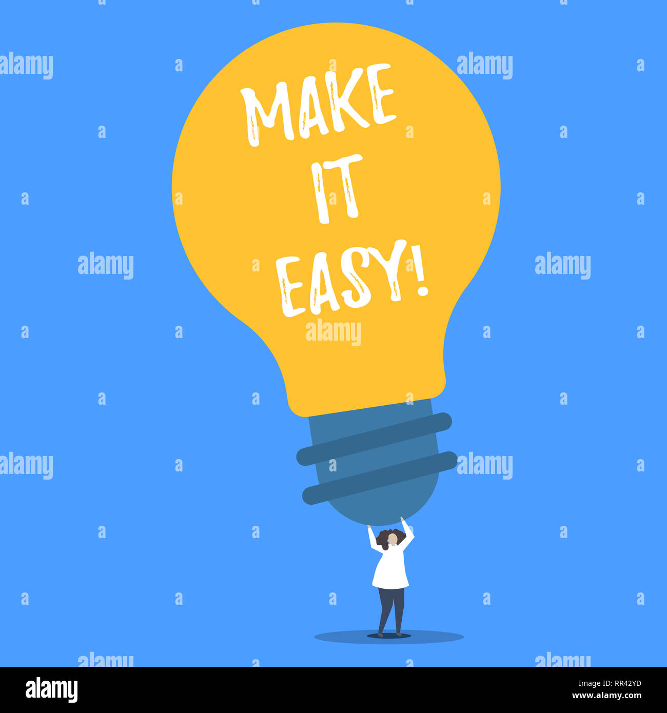 Word writing text Make It Easy. Business concept for Smart approach Effortless Free from worries or difficulties - Stock Image