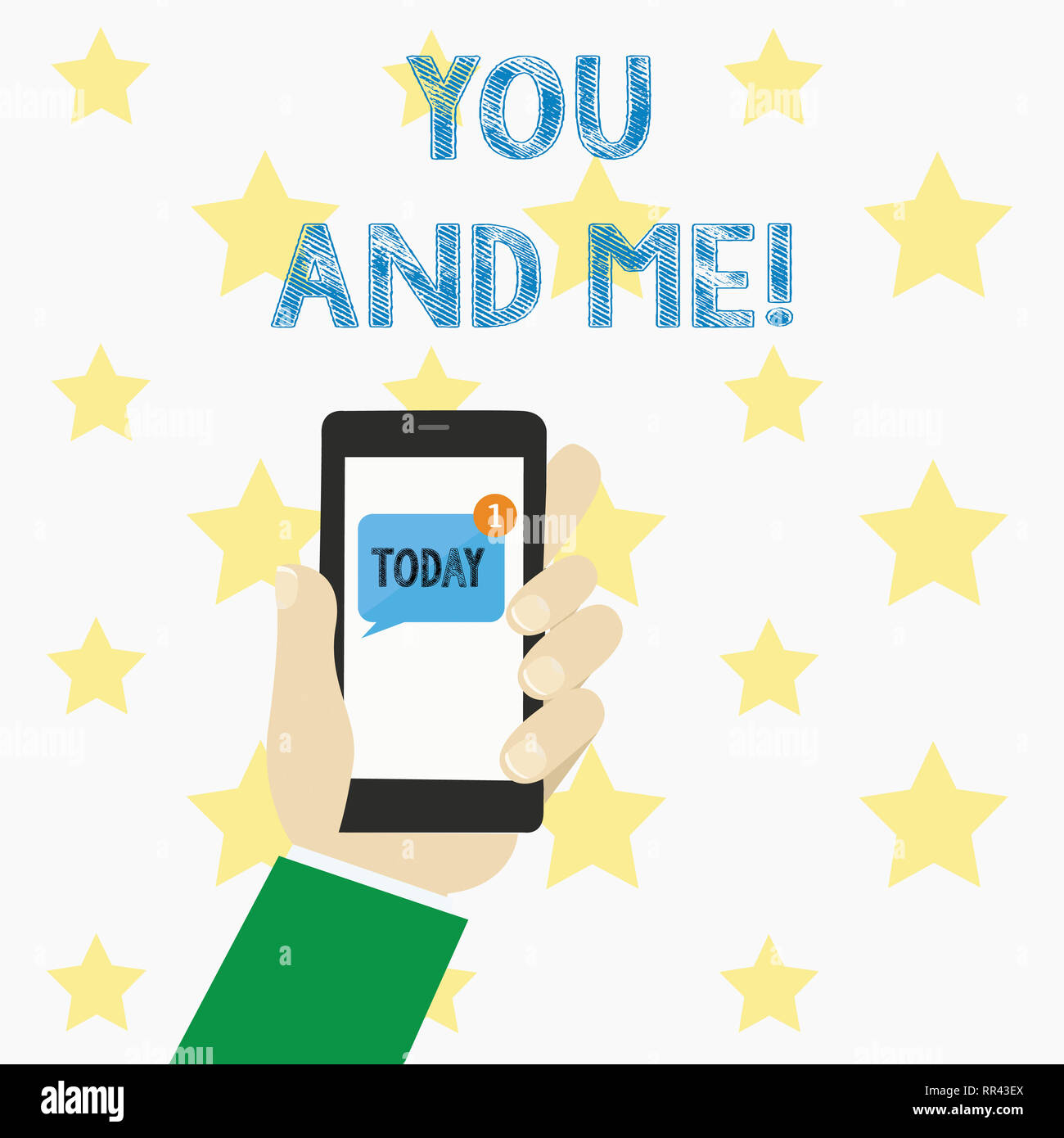 Text sign showing You And Me. Conceptual photo Couple Relationship compromise Expressing roanalysistic feelings - Stock Image