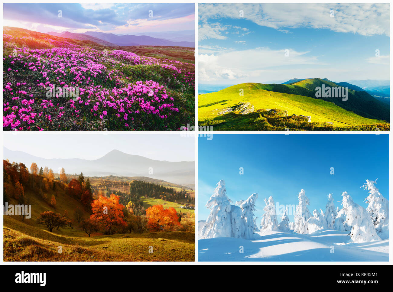 Four season nature landscapes in mountains. Natural backgrounds - Stock Image