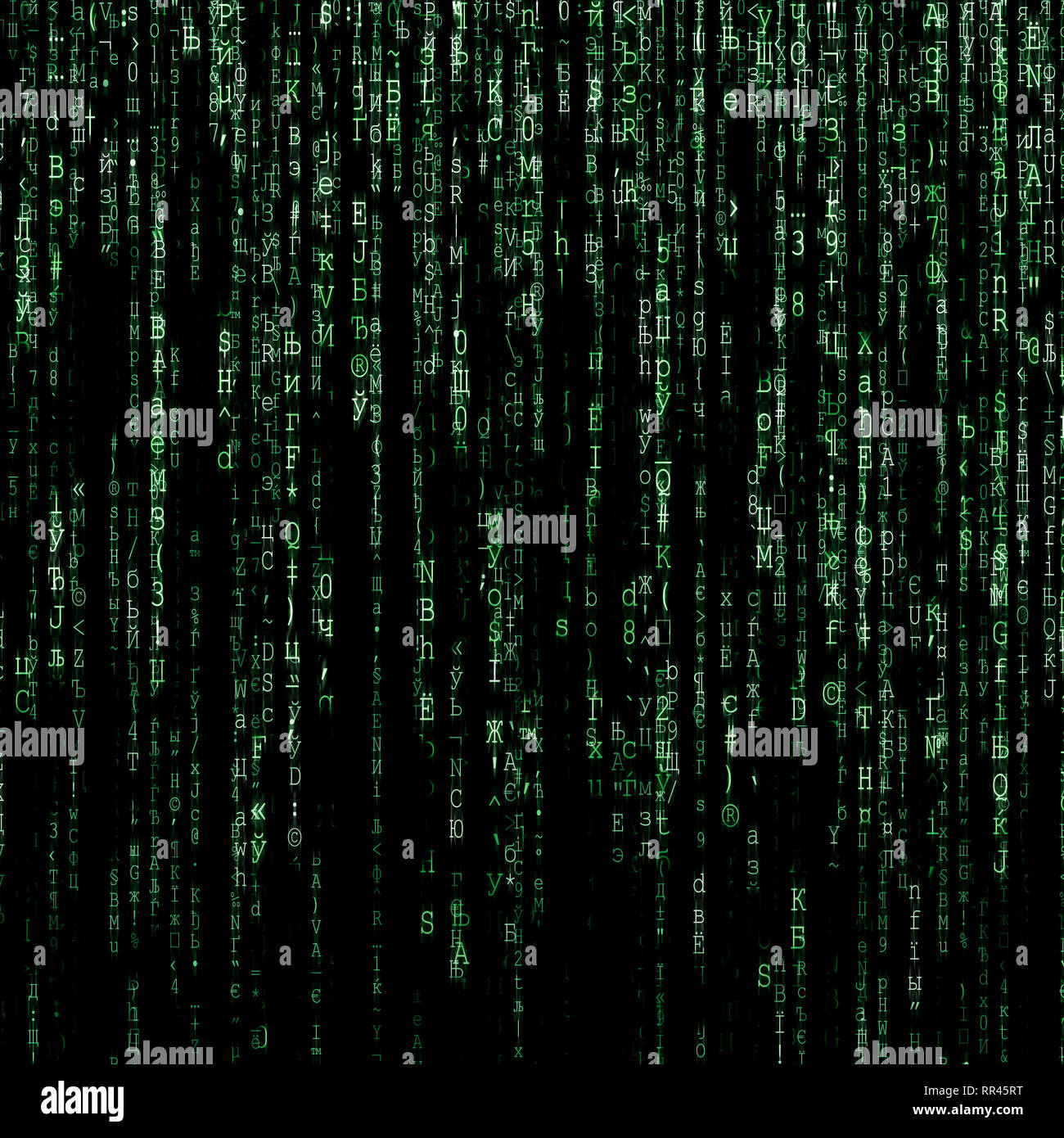 Green matrix background generated on computer - Stock Image