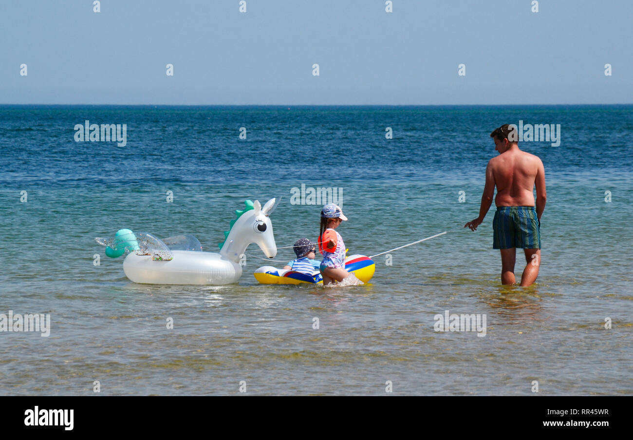 Family enjoying the hot weather with inflatable crafts in the sea at Shell Bay, Studland, Swanage, Isle of Purbeck, Dorset, UK - Stock Image