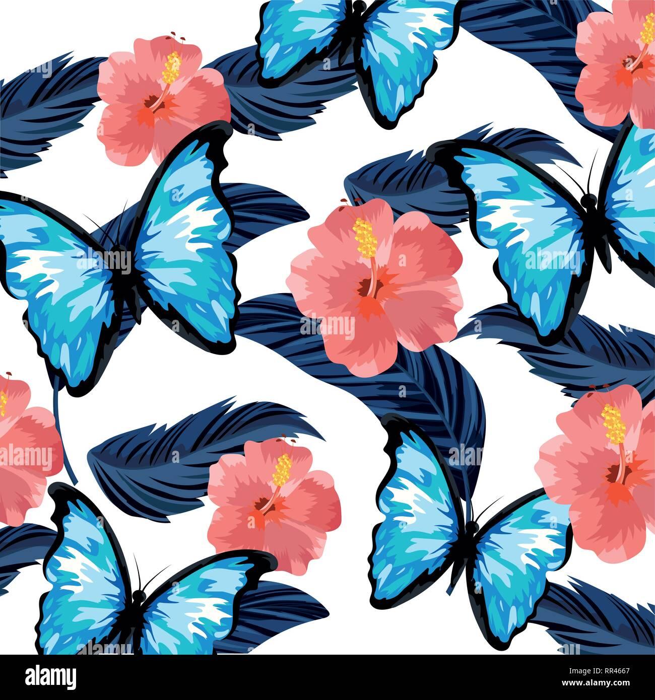 beautiful tropical flowers cartoon - Stock Image