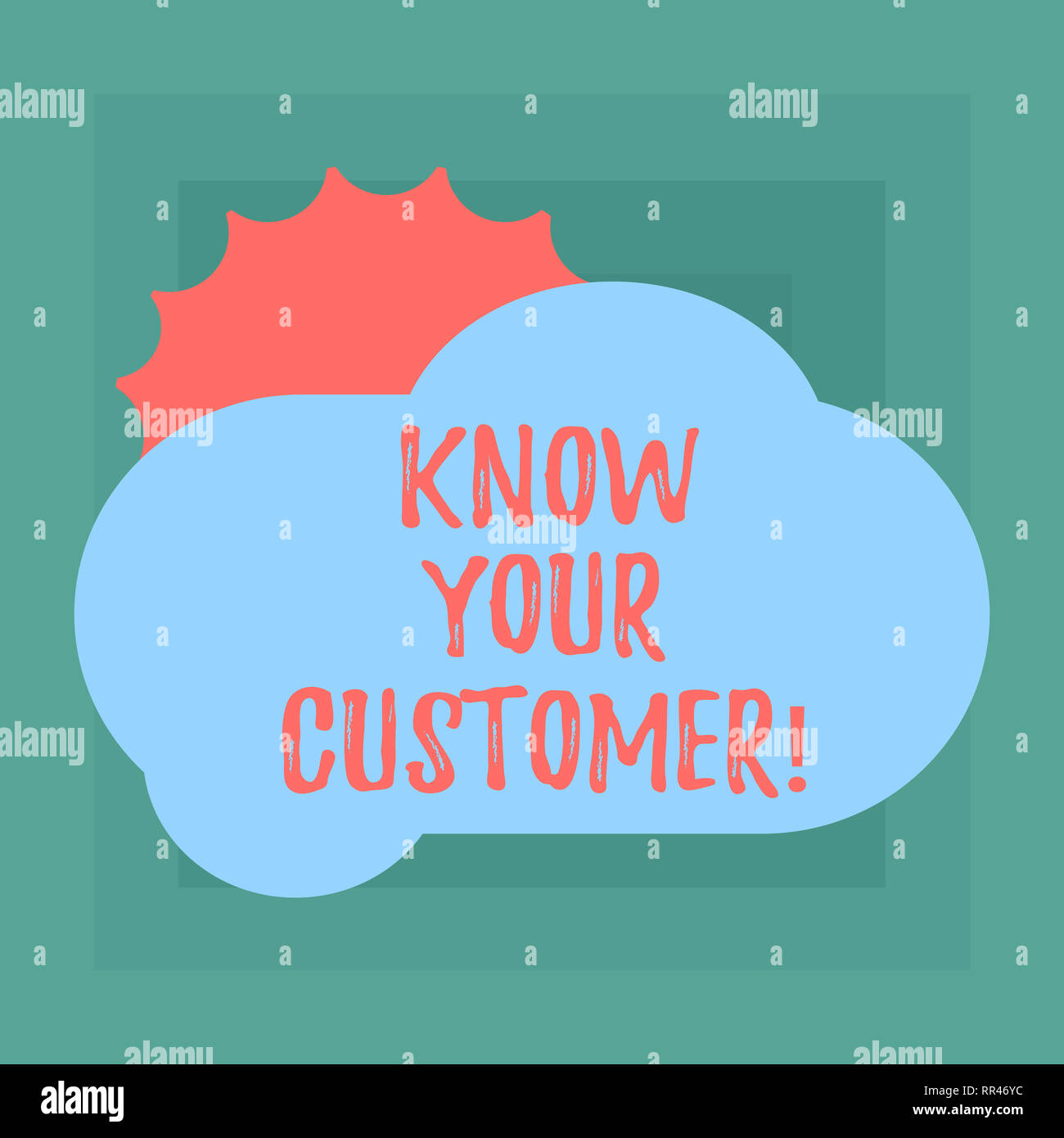 Conceptual hand writing showing Know Your Customer. Business photo showcasing verifying identity clients and assessing potential risks Sun Hiding Behi - Stock Image