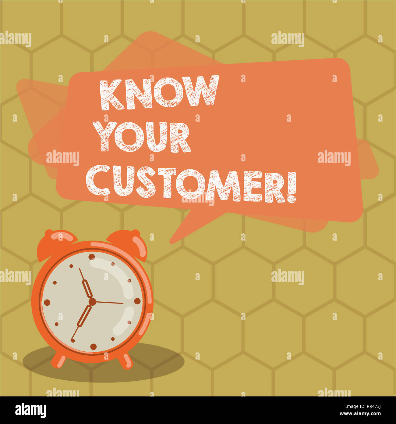 Conceptual hand writing showing Know Your Customer. Business photo text verifying identity clients and assessing potential risks Rectangular Speech Bu - Stock Image