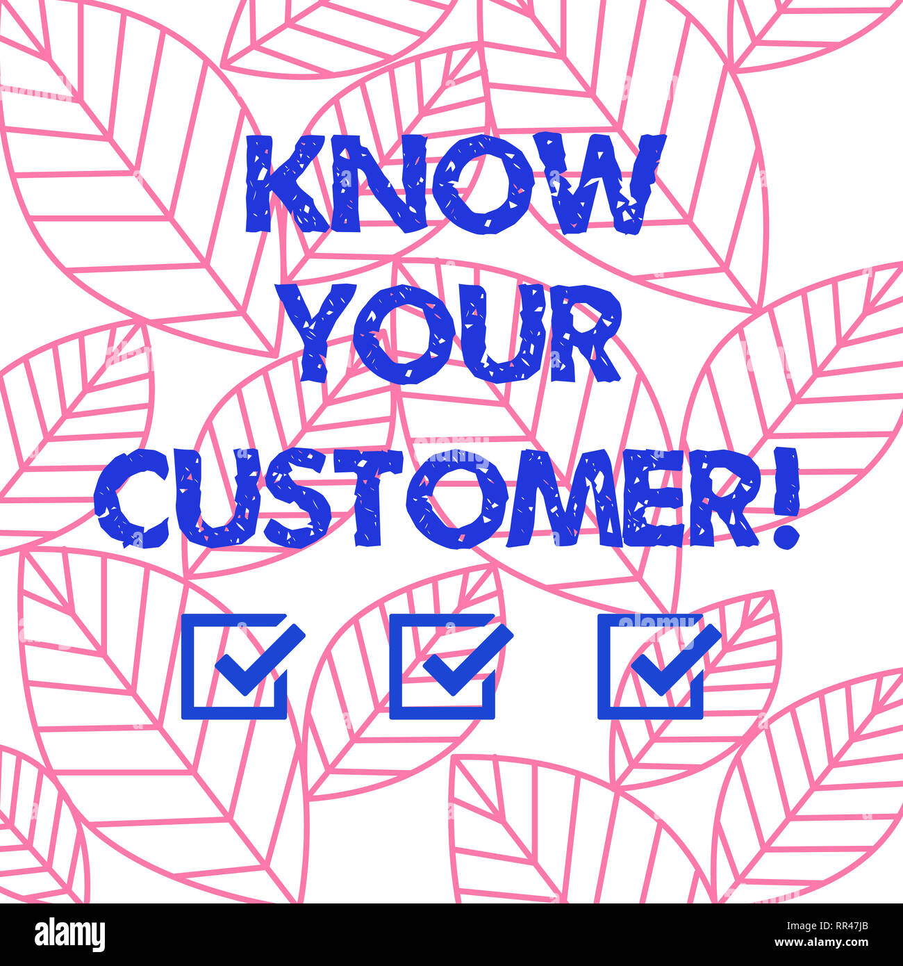 Word writing text Know Your Customer. Business concept for verifying identity clients and assessing potential risks Collection of Leaves Outline Isola - Stock Image