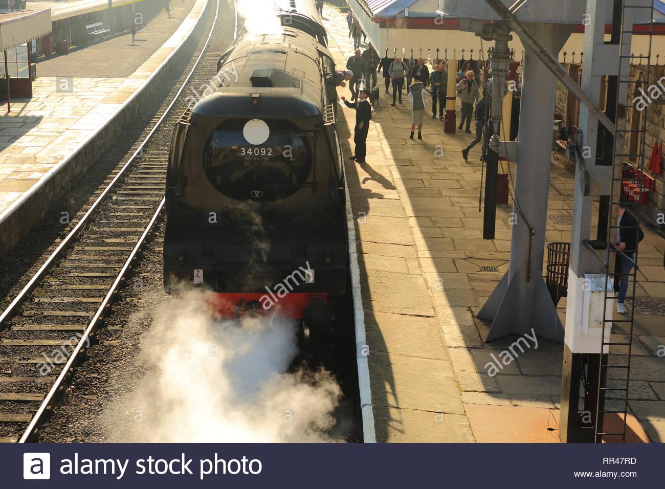 Steam Train In Full Force At Ramsbotton East Lancashire Railway UK Stock Photo