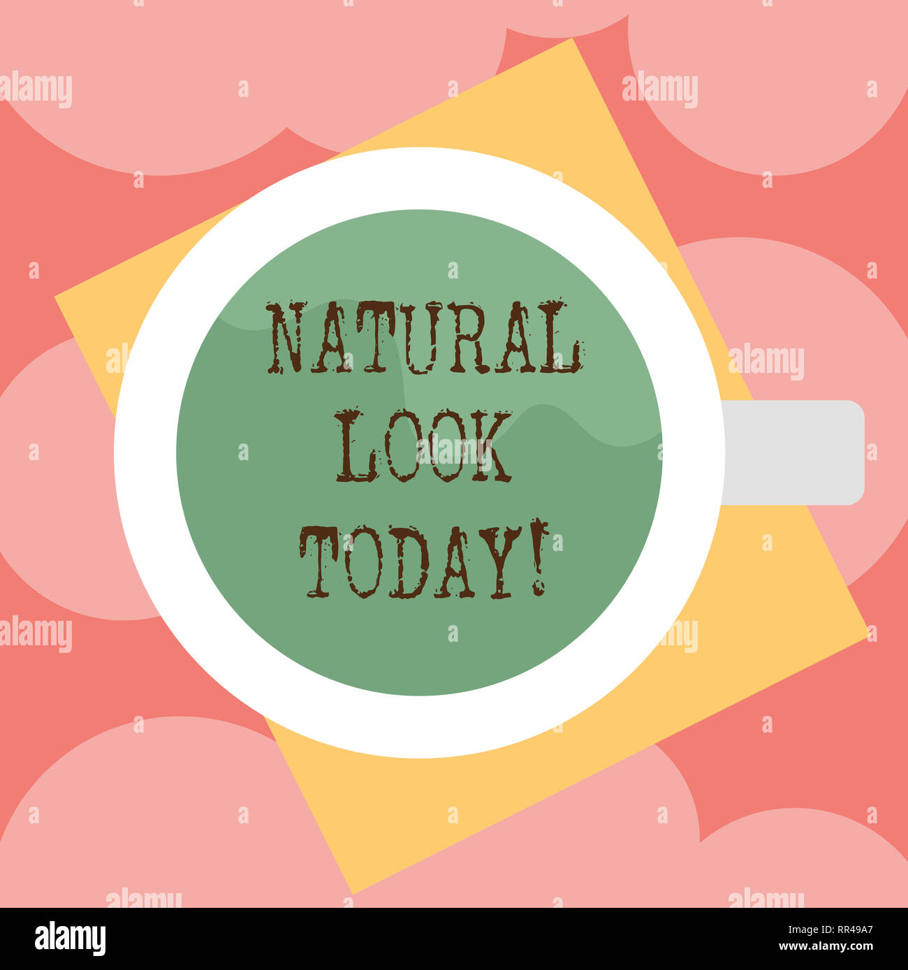 Writing note showing Natural Look Today. Business photo showcasing not made or caused by showing or chemical substance Top View of Drinking Cup Filled Stock Photo