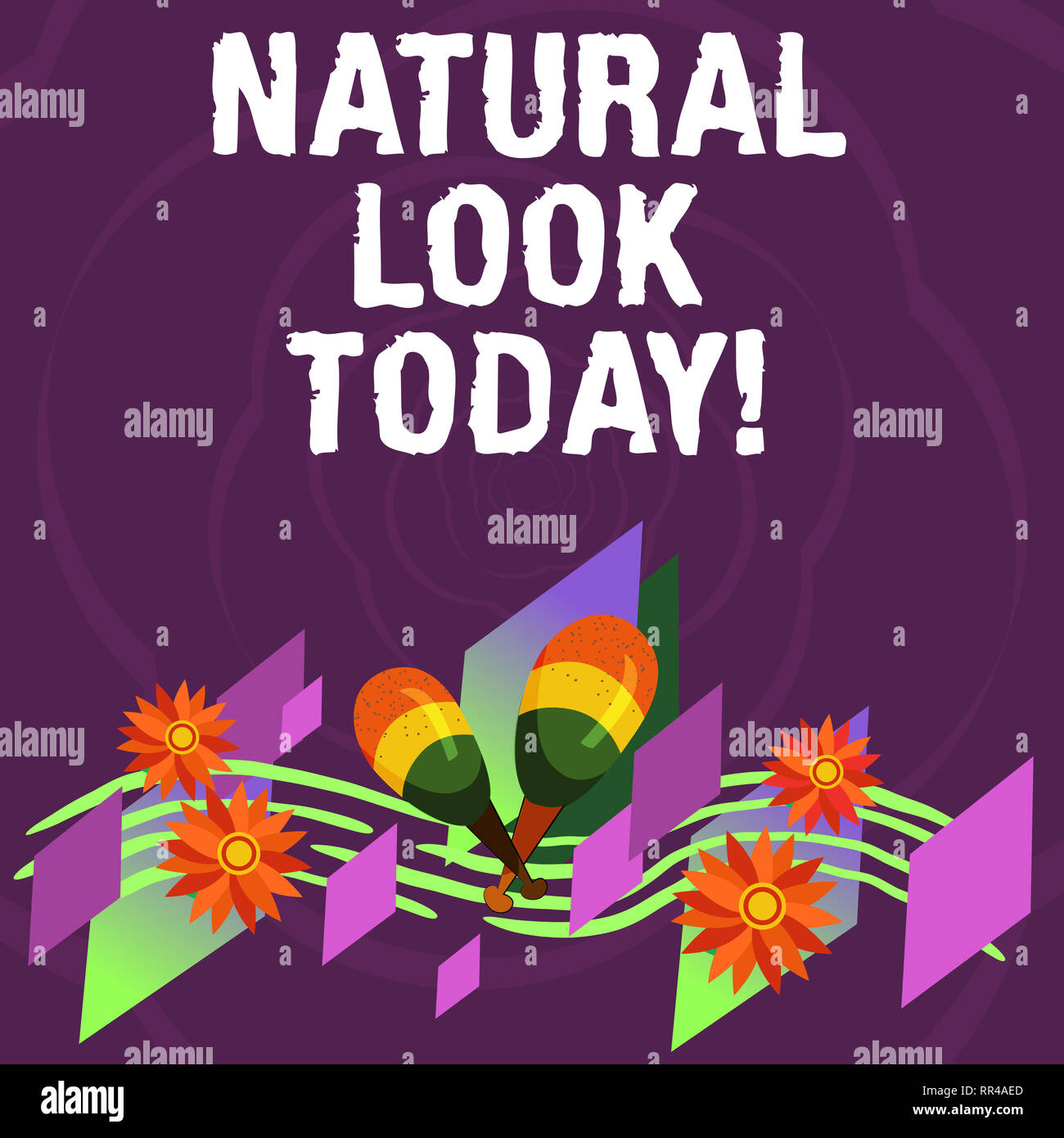 Handwriting text Natural Look Today. Concept meaning not made or caused by showing or chemical substance Colorful Instrument Maracas Handmade Flowers  - Stock Image