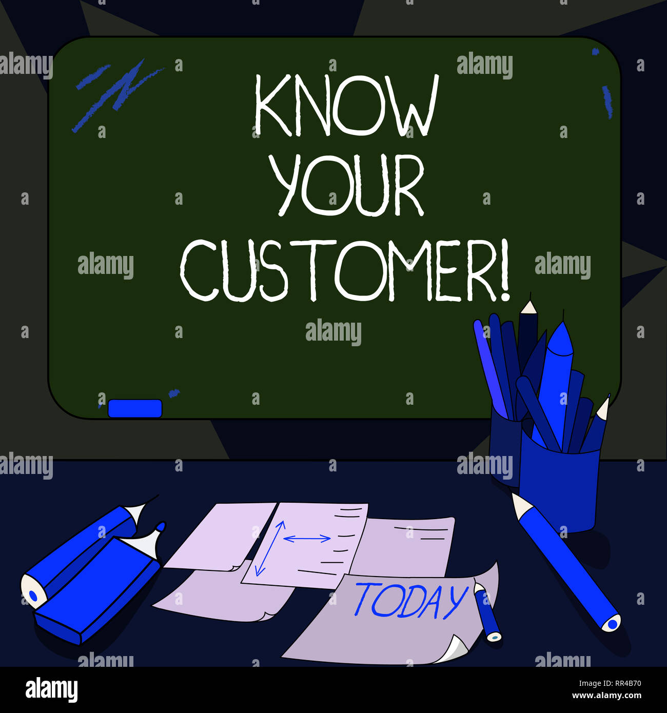 Handwriting text writing Know Your Customer. Concept meaning verifying identity clients and assessing potential risks Mounted Blank Color Blackboard w - Stock Image