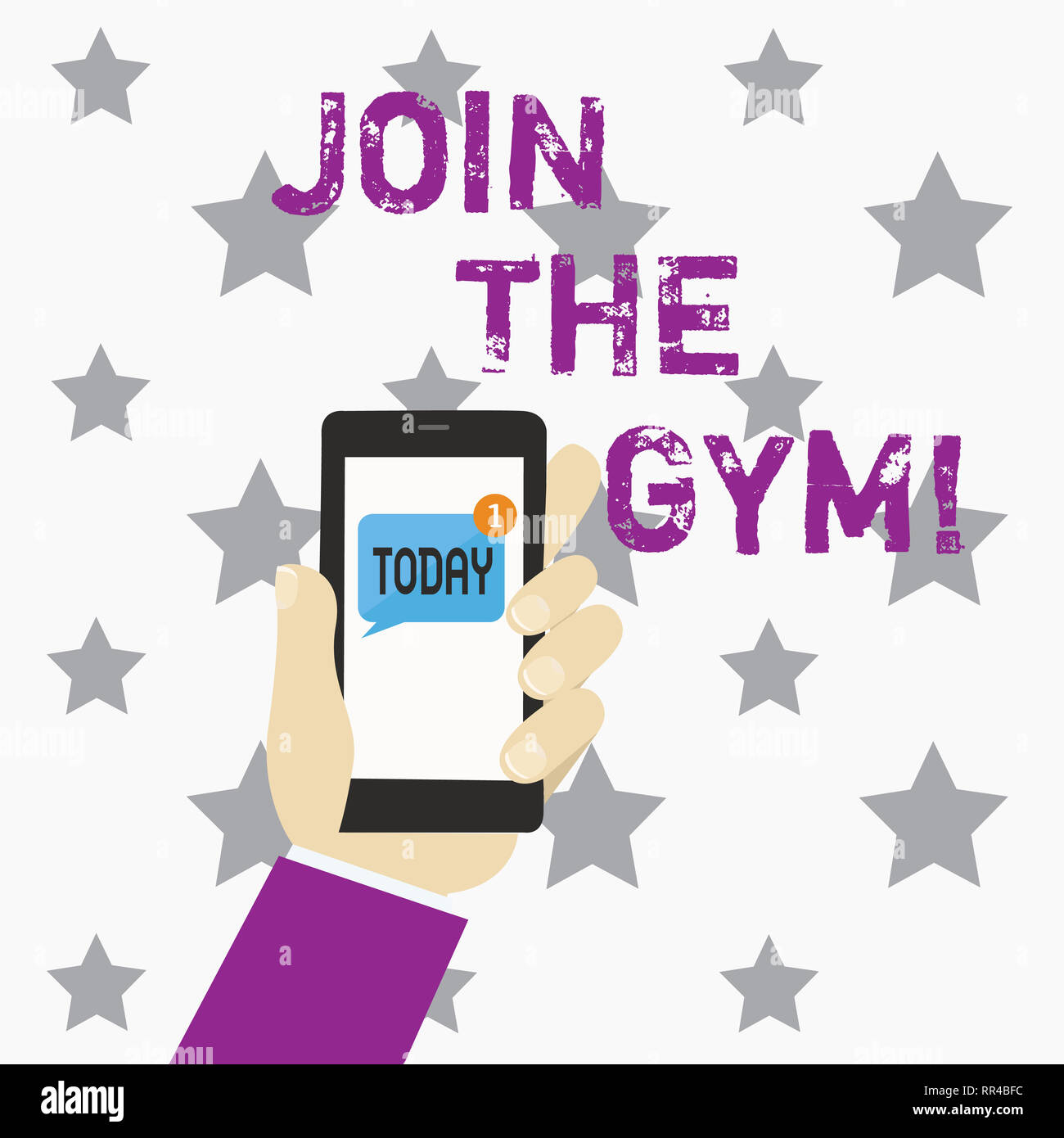 Writing note showing Join The Gym. Business photo showcasing Motivation to start working out making exercises fitness - Stock Image