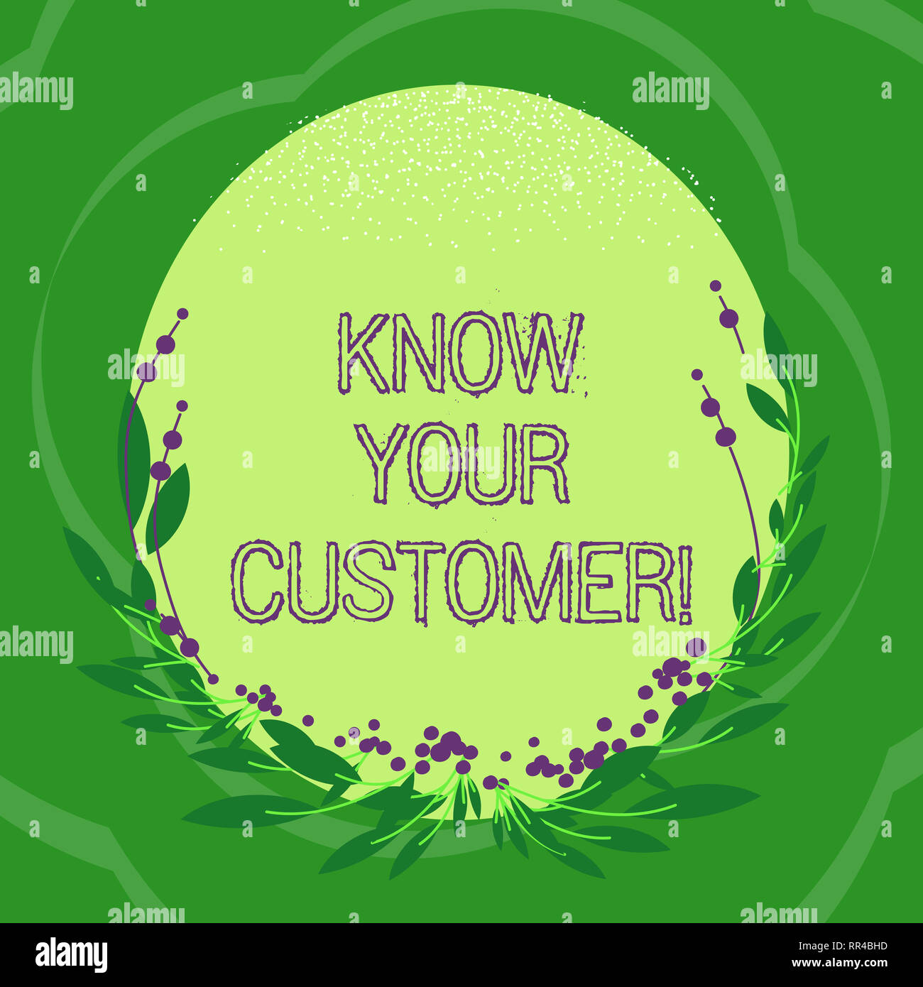 Handwriting text Know Your Customer. Concept meaning verifying identity clients and assessing potential risks Blank Color Oval Shape with Leaves and B - Stock Image