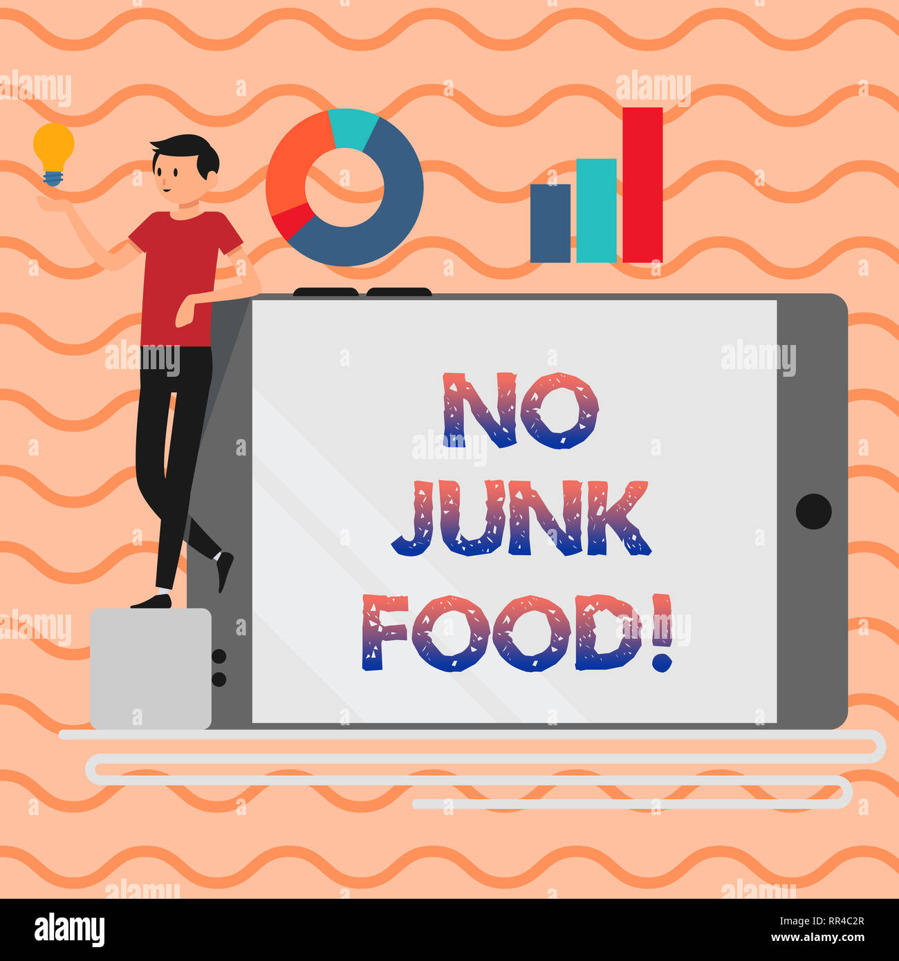 Word writing text No Junk Food. Business concept for Stop eating unhealthy things go on a diet give up burgers fries Stock Photo