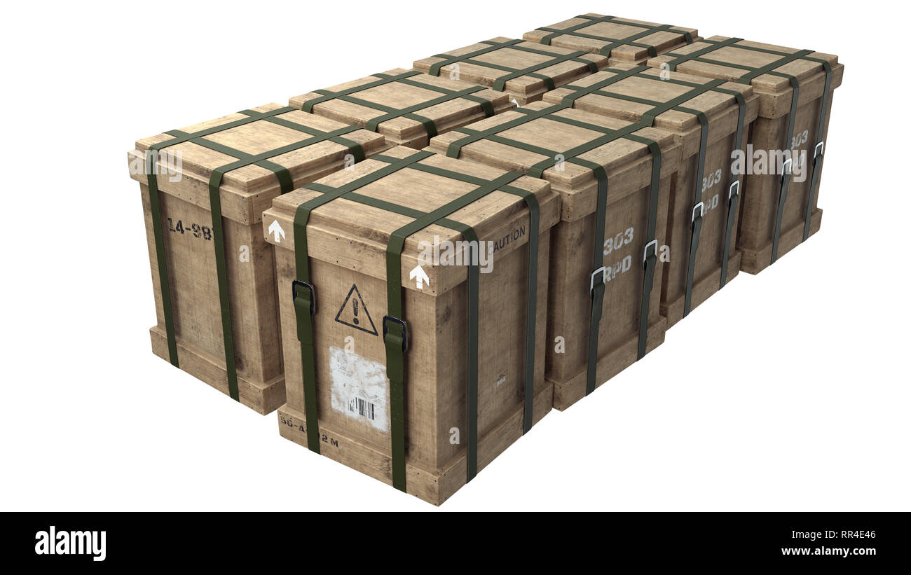 Arrangement of storage boxes. Can be used as airdrops, loot crates, cargo or survival scenarios. - Stock Image