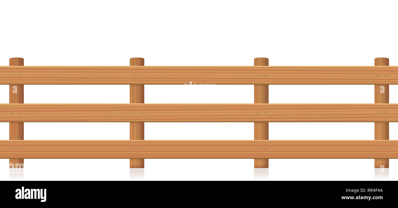 Pasture fence, wooden texture - illustration on white background. - Stock Image