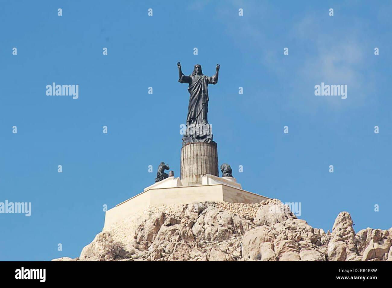 Saidnaya, Syria. 24th Feb, 2019. SAIDNAYA, SYRIA - FEBRUARY 24, 2019: A view of the 32-metre Statue of Jesus near the Cherubim Monastery. Konstantin Machulsky/TASS Credit: ITAR-TASS News Agency/Alamy Live News - Stock Image