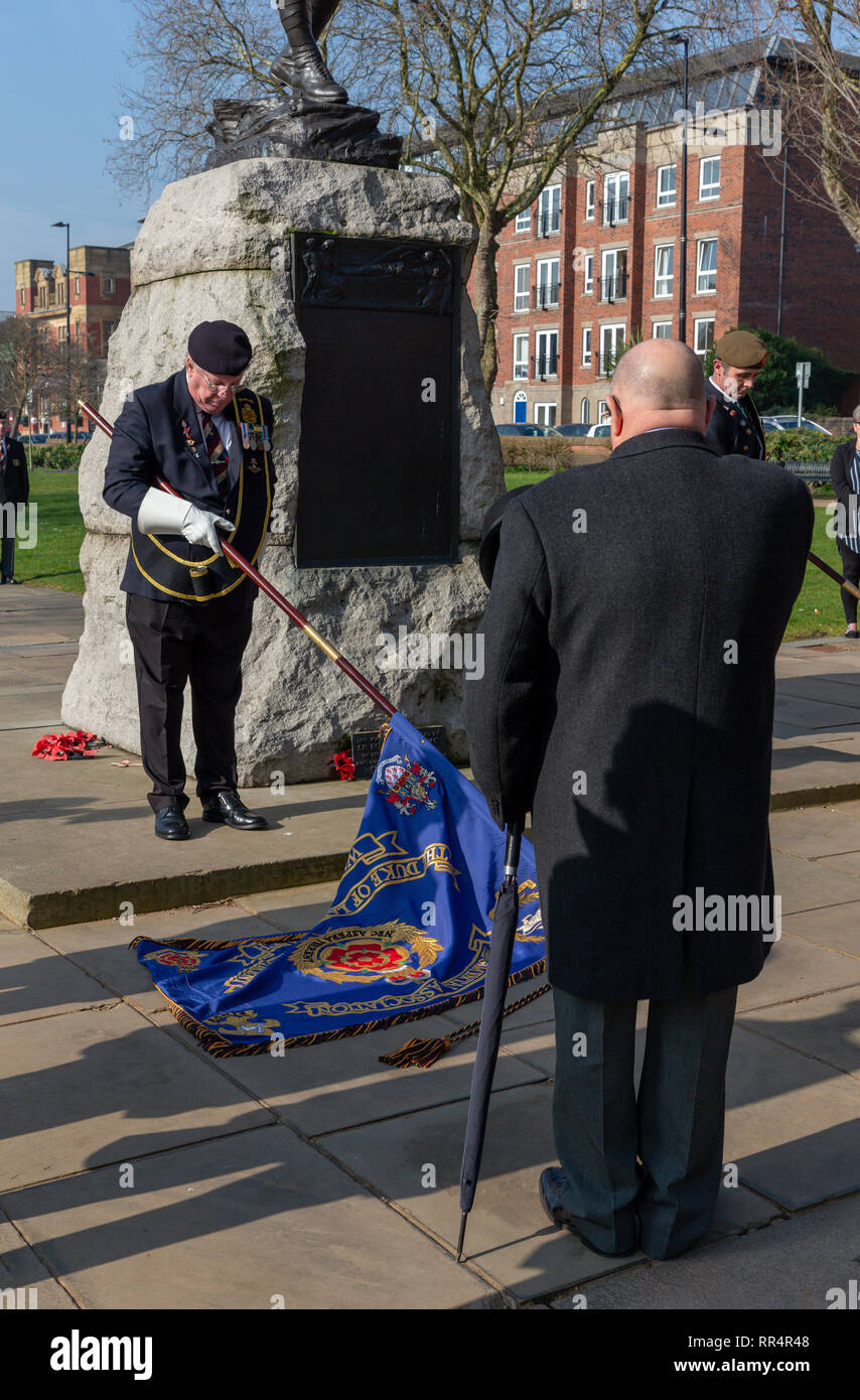 Warrington, Cheshire, UK. 24th Feb, 2019. 24 February 2019  The sun shone strongly on the annual parade and service to commemorate the anniversary of the Battle for Pieter's Hill on 27th February 1900 by the 1st Battalion of the South Lancashire Regiment (PWV) took place in The Queen's Gardens, Palmyra Square, Warrington, Cheshire, England, UK Credit: John Hopkins/Alamy Live News Stock Photo
