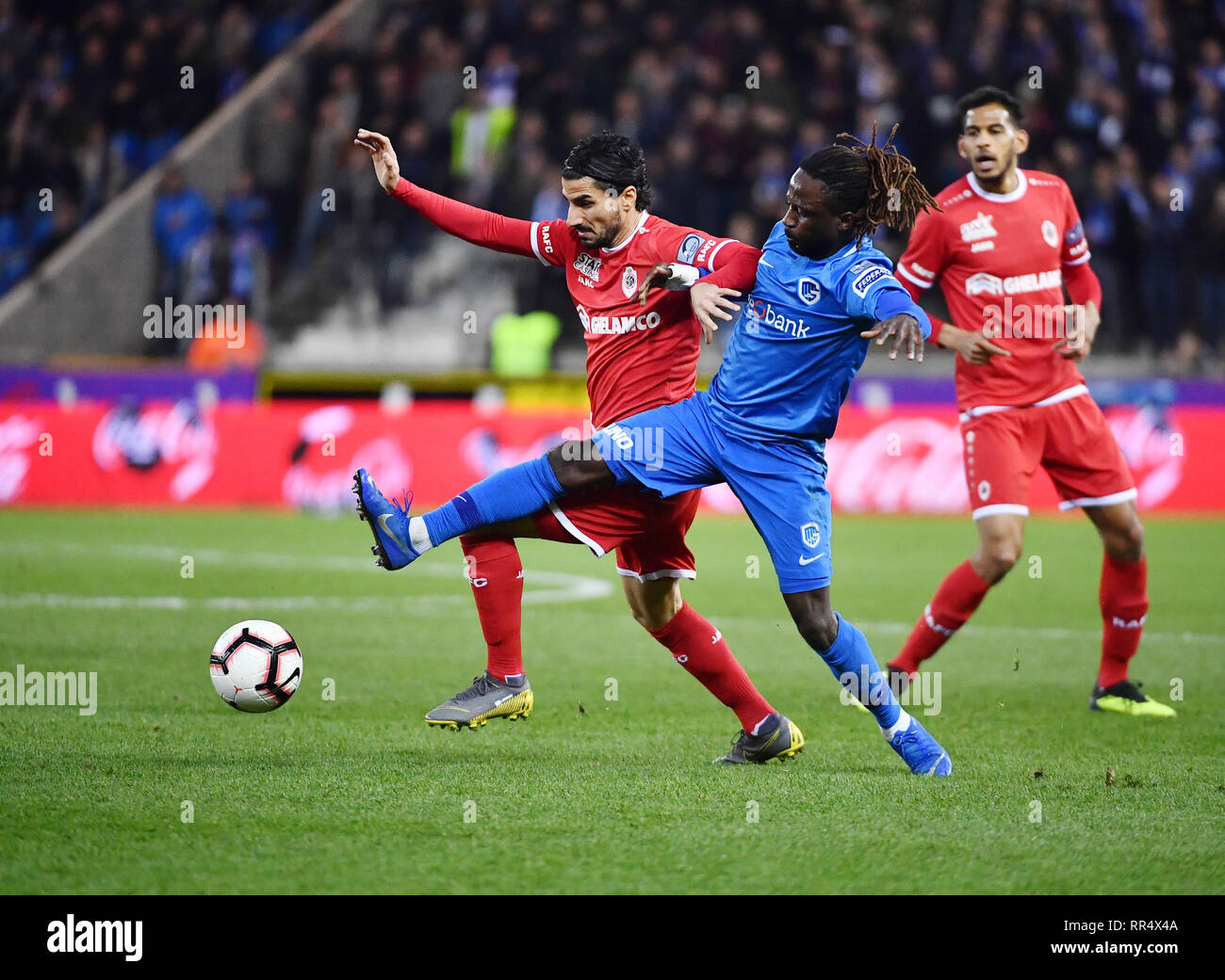 Genk Belgium February 24 Lior Refaelov Of Antwerp And Dieumerci Ndongala Of Genk Fight For The Ball During The Jupiler Pro League Match Day 27 Between Krc Genk And Royal Antwerp