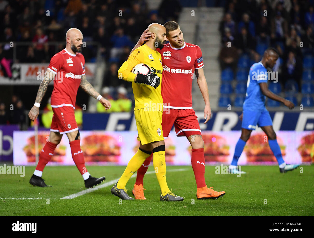 Genk Belgium February 24 Sinan Bolat Of Antwerp And Dino Arslanagic Of Antwerp During The Jupiler