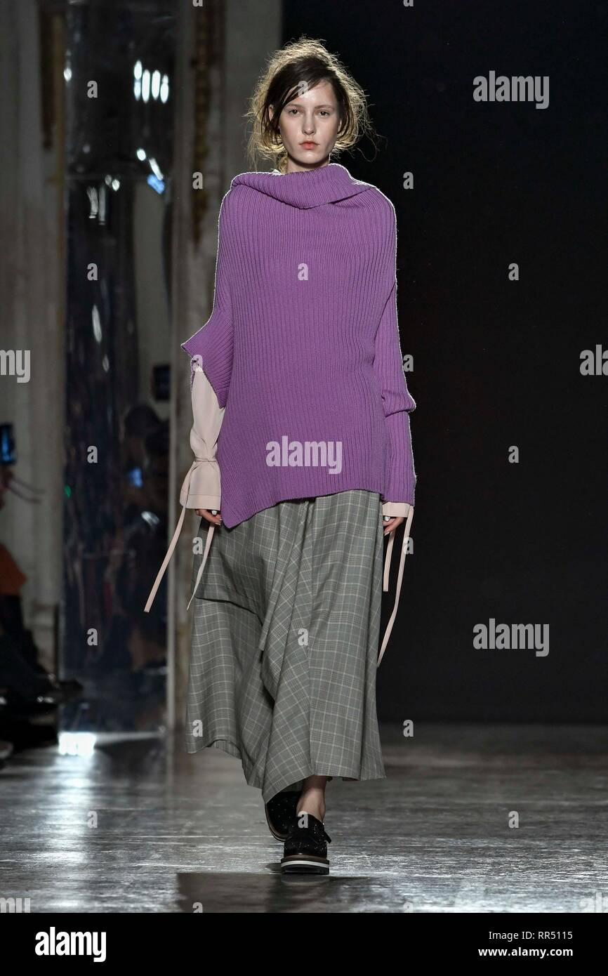 Milan, Italy. 24th Feb, 2019. 2020. Ujho Fashion Show In the photo: model Credit: Independent Photo Agency/Alamy Live News Stock Photo