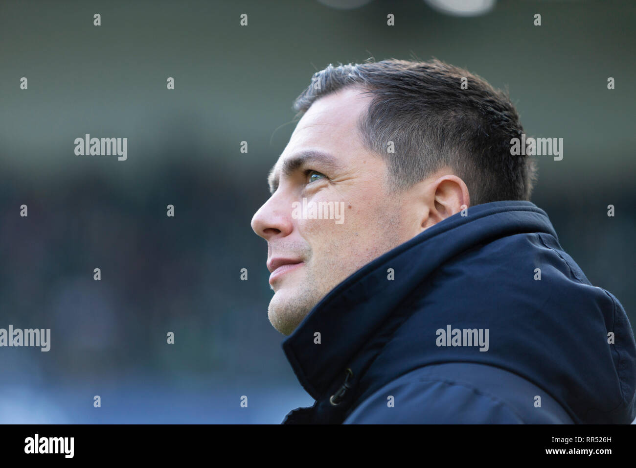 sports, football, Bundesliga, 2018/2019, Borussia Moenchengladbach vs VfL Wolfsburg 0-3, Stadium Borussia Park, sports director Marcel Schaefer (Wolfsburg), DFL REGULATIONS PROHIBIT ANY USE OF PHOTOGRAPHS AS IMAGE SEQUENCES AND/OR QUASI-VIDEO - Stock Image