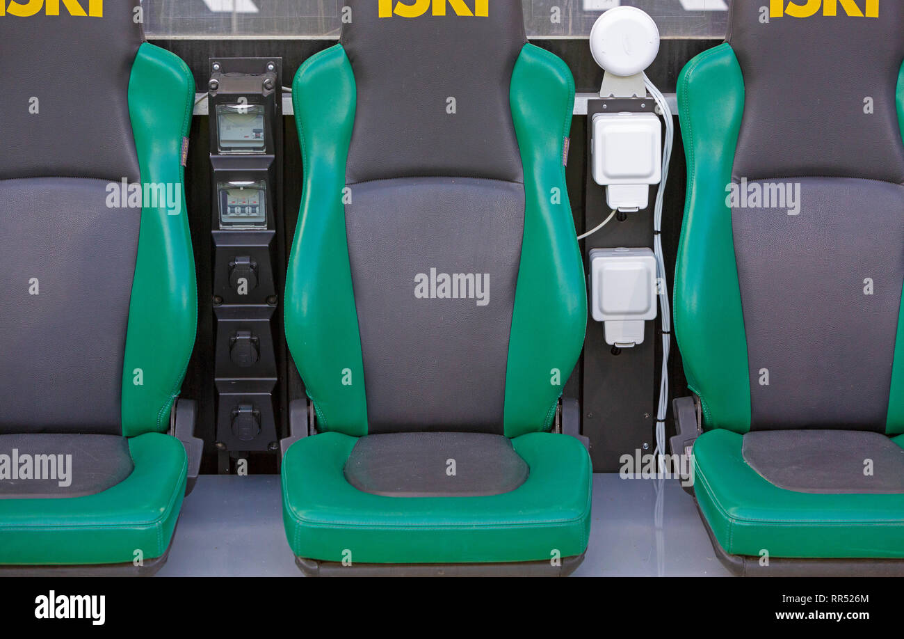 sports, football, Bundesliga, 2018/2019, Borussia Moenchengladbach, Stadium Borussia Park, coaching bench and players bench, electricity supply to the seats, electrical wires, cable system, jacks, symbolic image, change of coach, managerial changes, managerial roundabout, catapult seat, ejection seat, ejector seat, hot seat, DFL REGULATIONS PROHIBIT ANY USE OF PHOTOGRAPHS AS IMAGE SEQUENCES AND/OR QUASI-VIDEO - Stock Image
