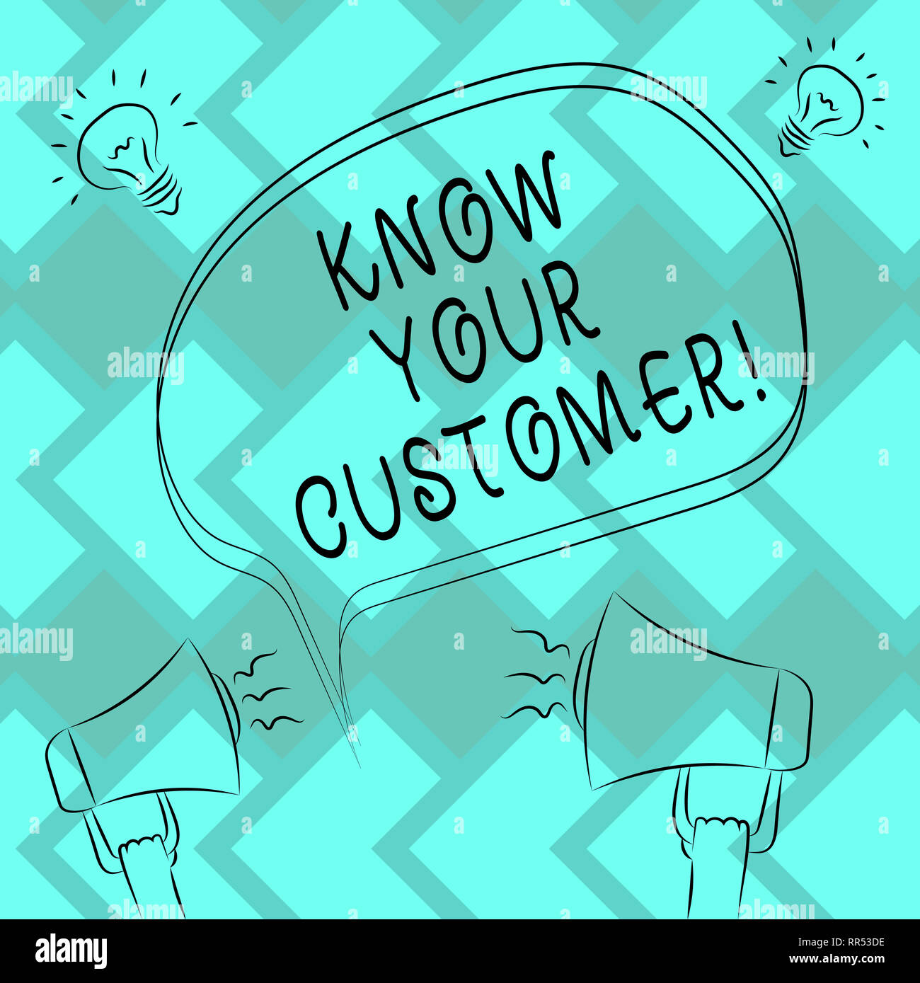 Text sign showing Know Your Customer. Conceptual photo verifying identity clients and assessing potential risks Freehand Outline Sketch of Blank Speec - Stock Image