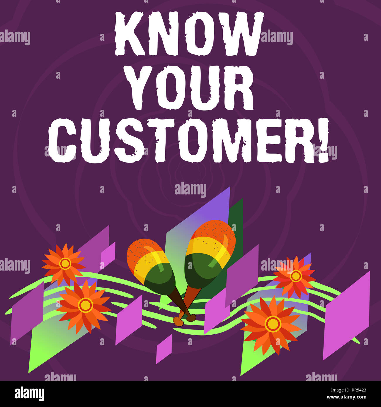 Handwriting text Know Your Customer. Concept meaning verifying identity clients and assessing potential risks Colorful Instrument Maracas Handmade Flo - Stock Image