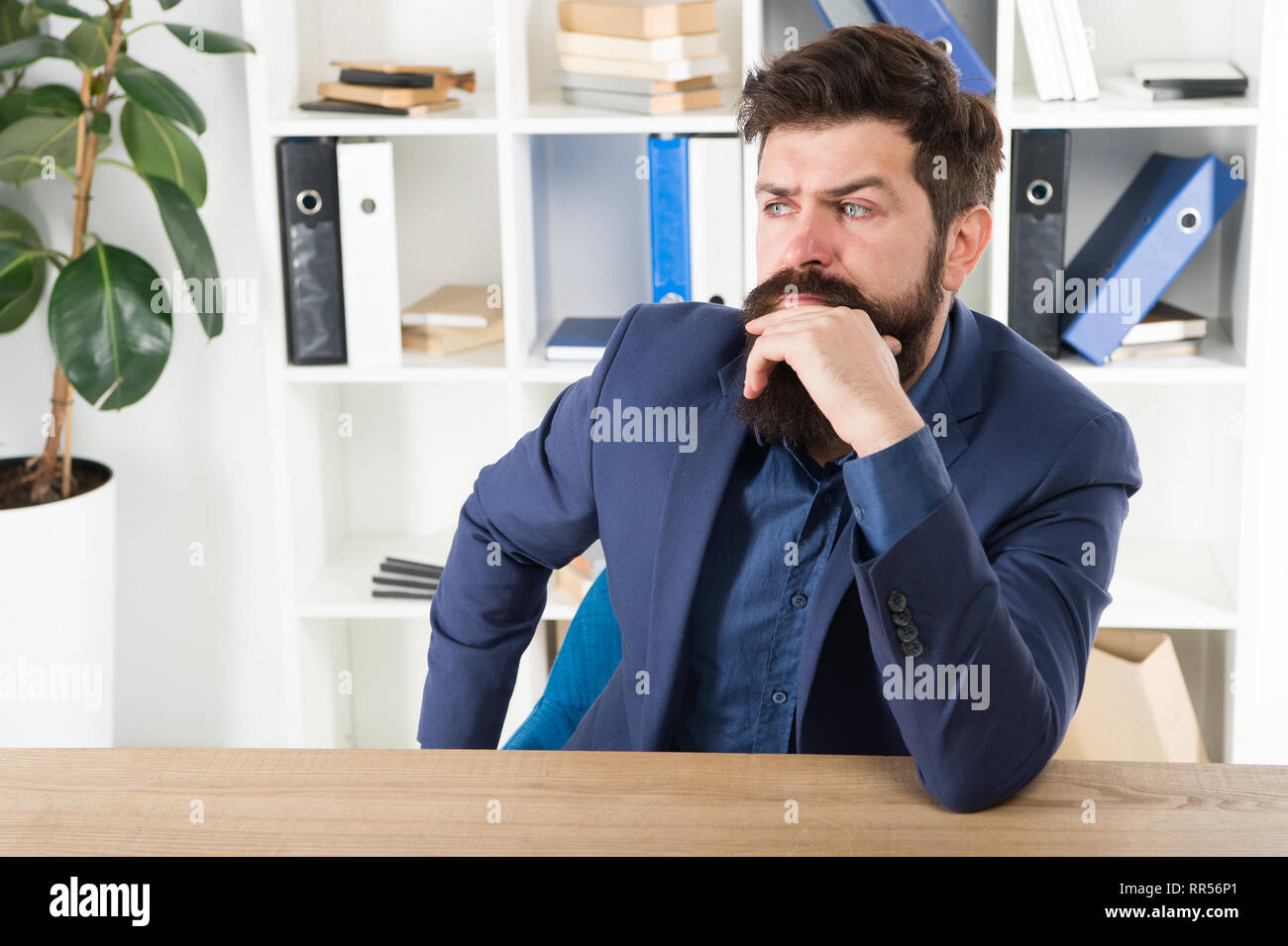 Man bearded businessman thoughtful face solving problem making decision. Mental process of choosing from set of alternatives. Hard decision. Business decision. Decision making is part of management. - Stock Image