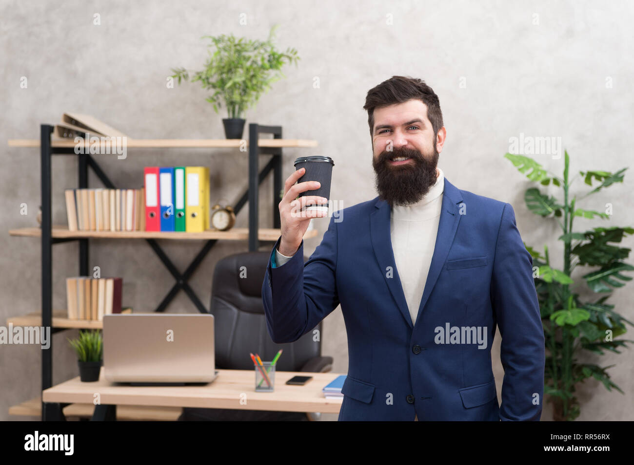 Got idea in his hand. Searching for fresh idea. Businessman in formal outfit. Confident man use laptop. happy boss workplace. Coffee break. Bearded man in business office. inspired by new idea. - Stock Image