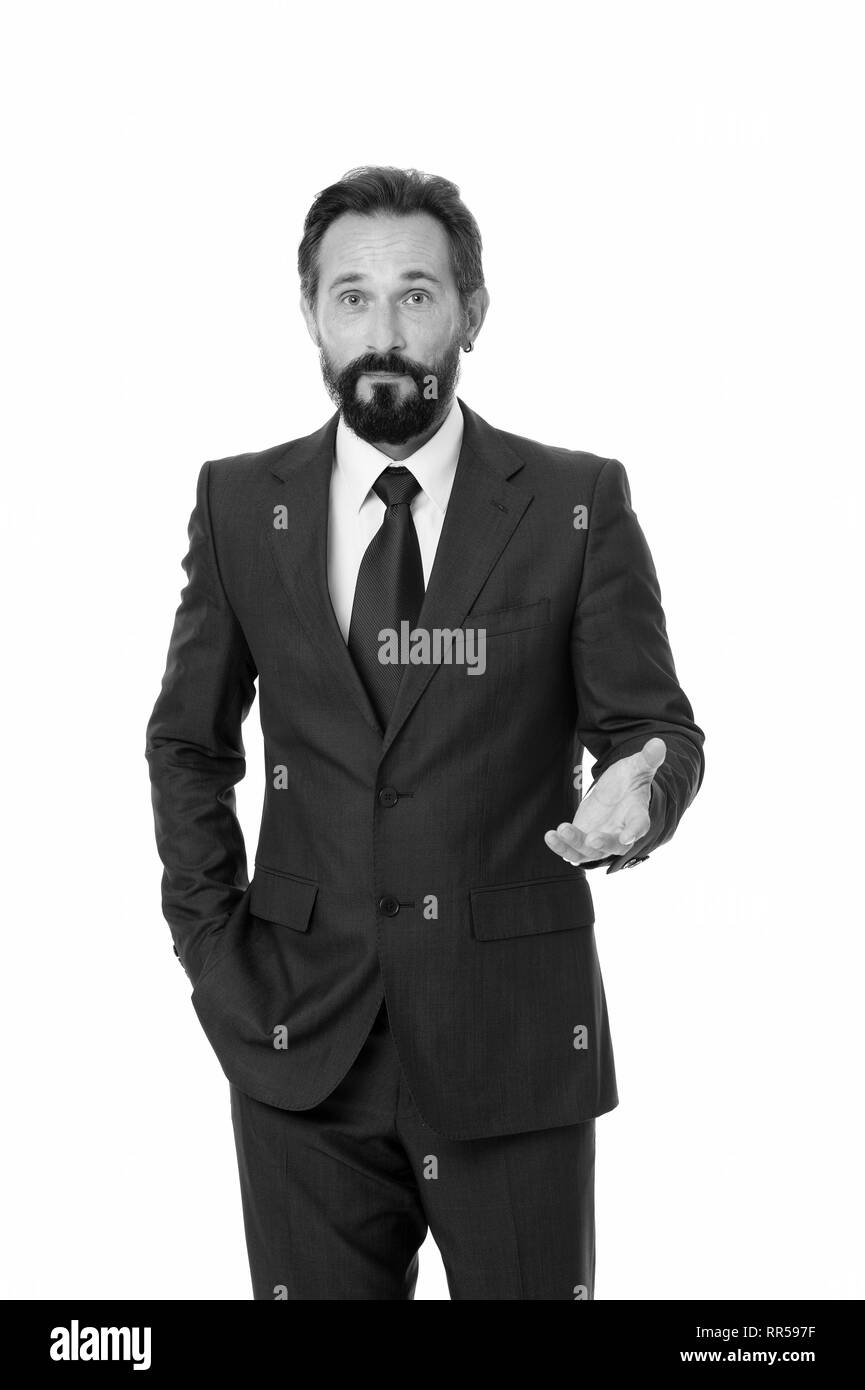 Businessman formal suit mature man isolated white. Businessman bearded handsome entrepreneur. Successful businessman concept. Customer service tips improve business. Businessman glad to meet you. - Stock Image