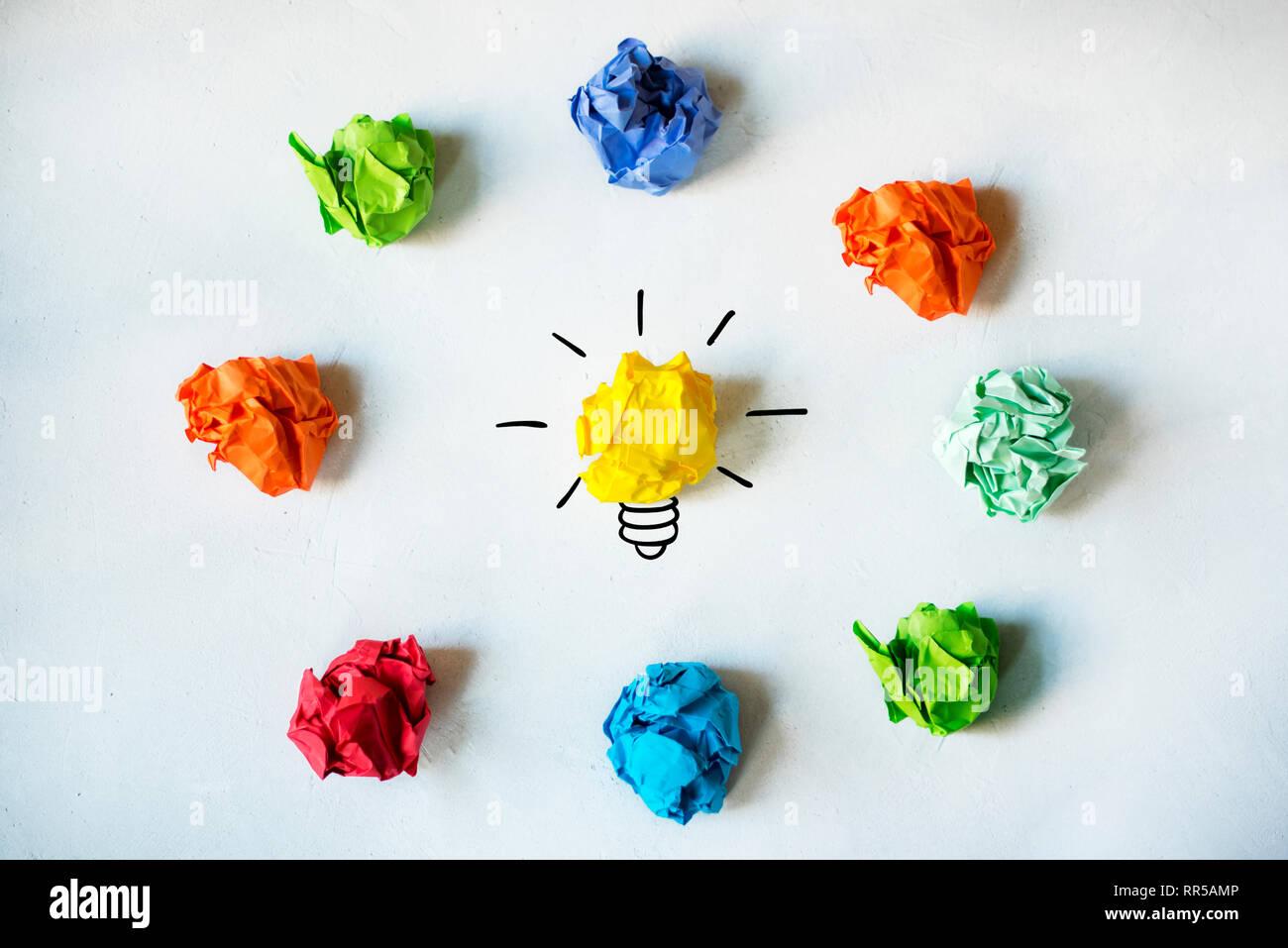 New Idea Concept. Colorful Crumpled Paper Balls Stock Photo