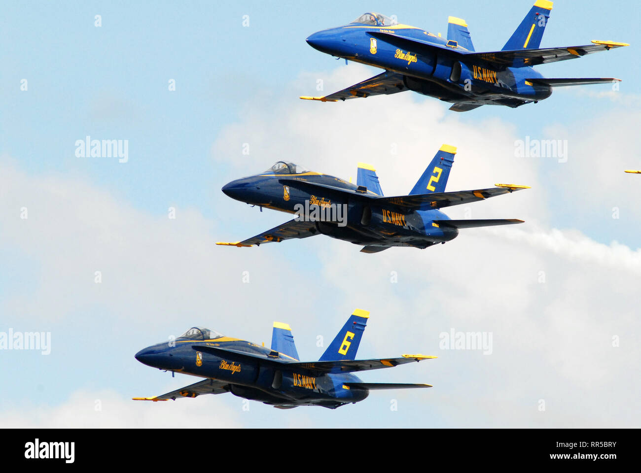 US Navy Blue Angles Vertical Flight Formation - Stock Image