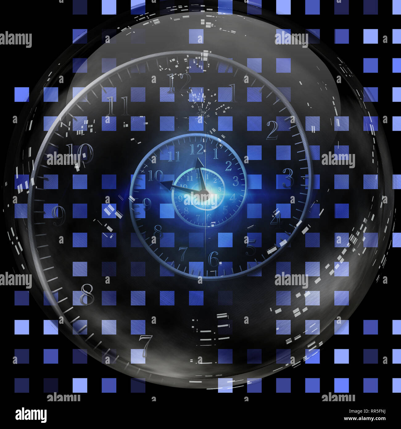 Spiral of time inside crystal ball. - Stock Image