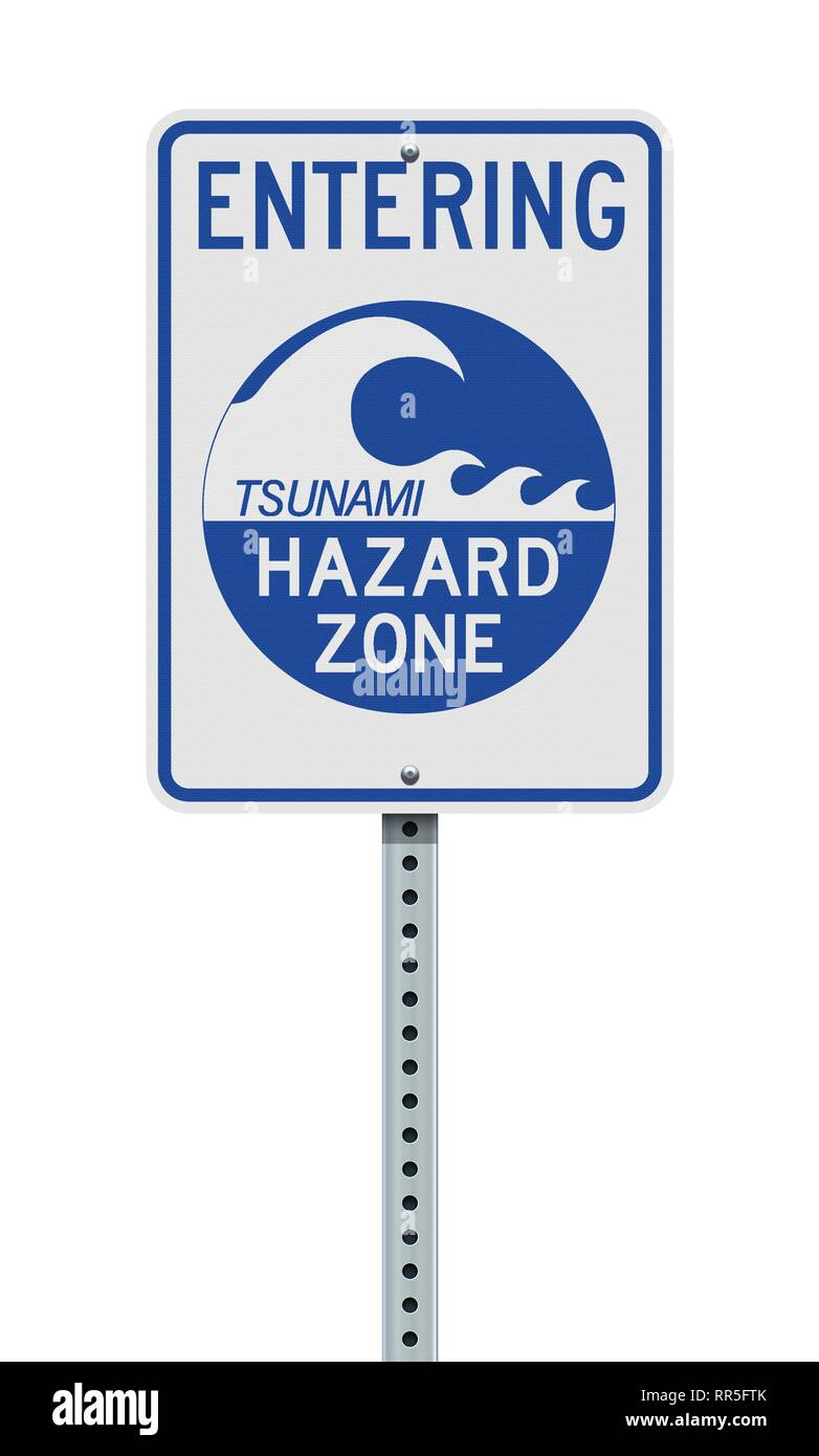 Vector illustration of the Entering Tsunami Hazard Zone sign Stock Vector