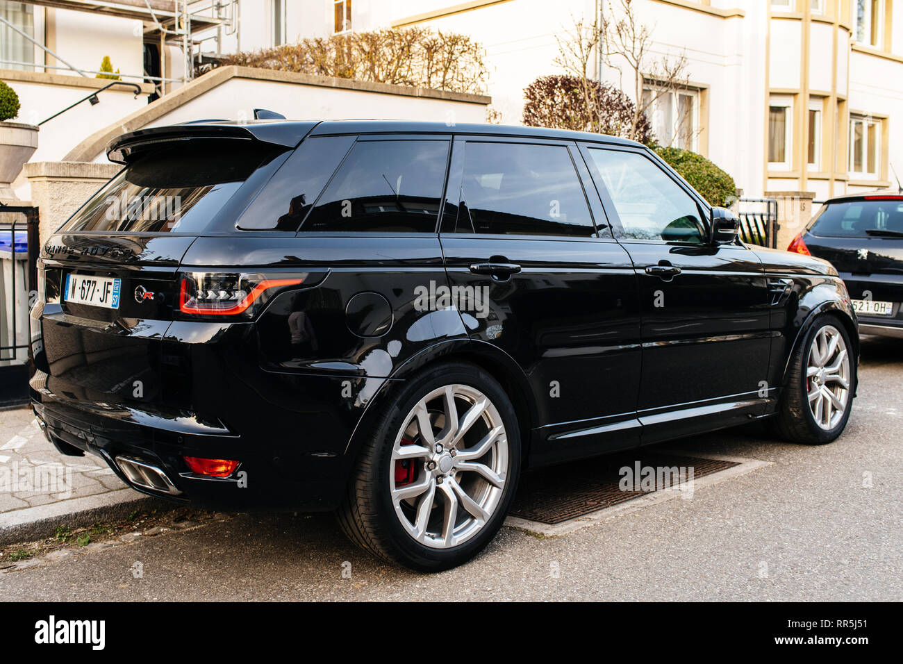Strasbourg France Apr 8 2018 Black Luxury Land Rover Range Rover Sport Svr Parked On The Street Stock Photo Alamy