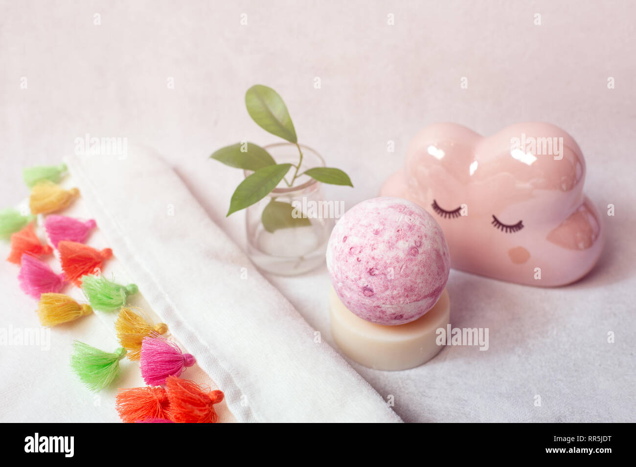 Spa bath cosmetic. Soap beauty treatment background. Aromatherapy with natural salt and bath bomb. - Stock Image