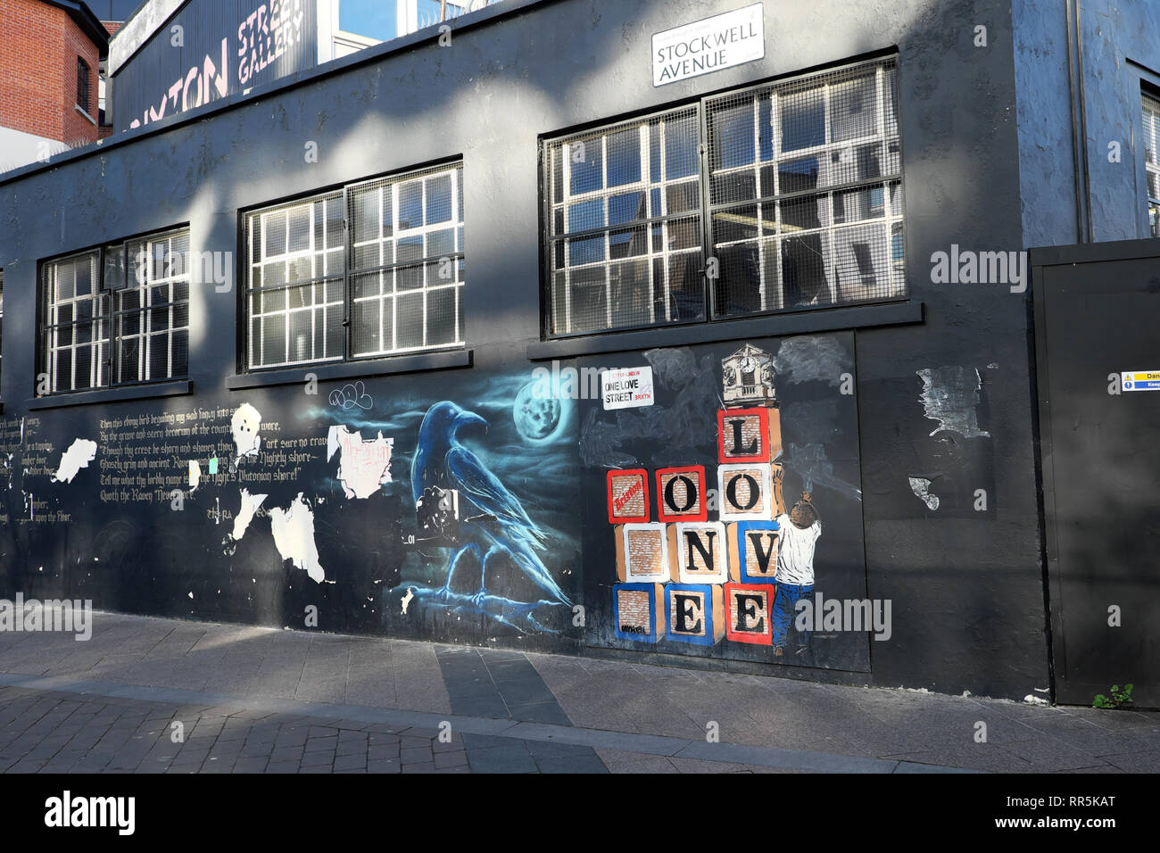 One Love Street graffiti on building at Stockwell Avenue in Brixton, South London UK  KATHY DEWITT - Stock Image