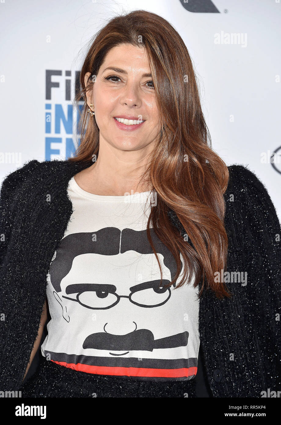 SANTA MONICA, CA - FEBRUARY 23: Marisa Tomei attends the 2019 Film Independent Spirit Awards on the beach on February 23, 2019 in Santa Monica, Califo - Stock Image