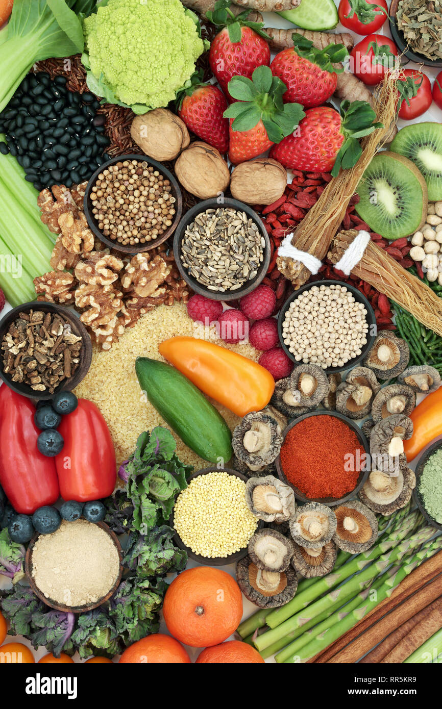 Liver detox health food concept with fresh fruit, vegetables, herbs, spices, nuts, herbal medicine, legumes, grains & seeds. - Stock Image