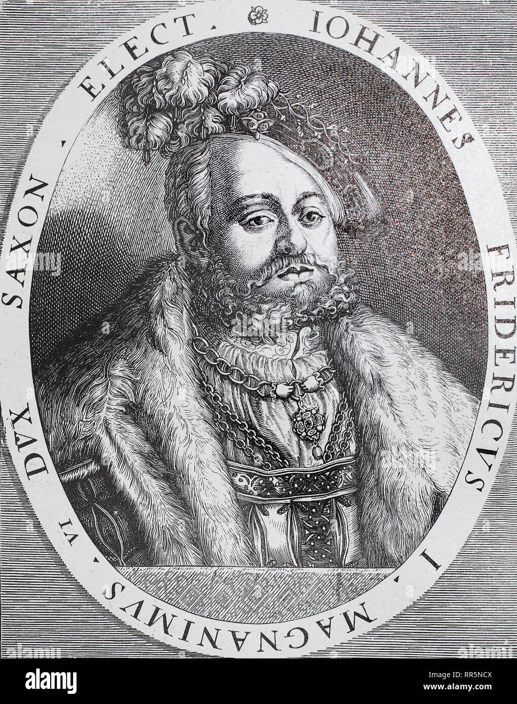 Elector of Saxony Johann-Friedrich the Magnanimous. Medieval engraving. Stock Photo