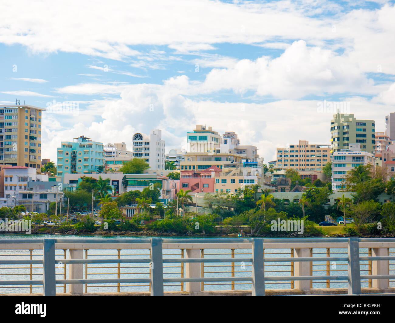 San Juan, Puerto Rico. January 2019. View of San JUan and Condado lagoon. Condado is a upper class community at east of the Old San Juan, Santurce, Sa - Stock Image