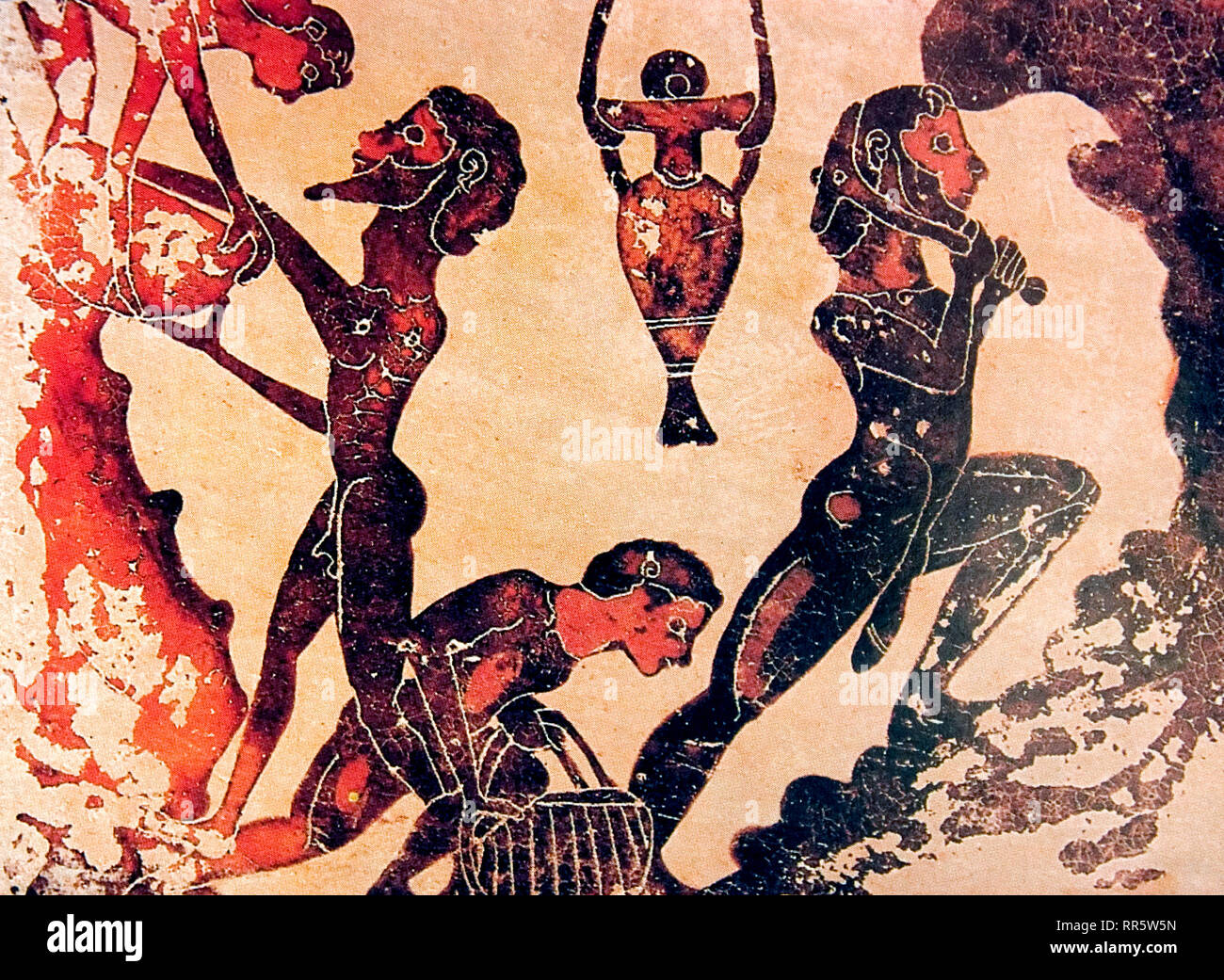Slaves working in a mine. Corinthian terracotta plaque painting, 5th century BC - Stock Image