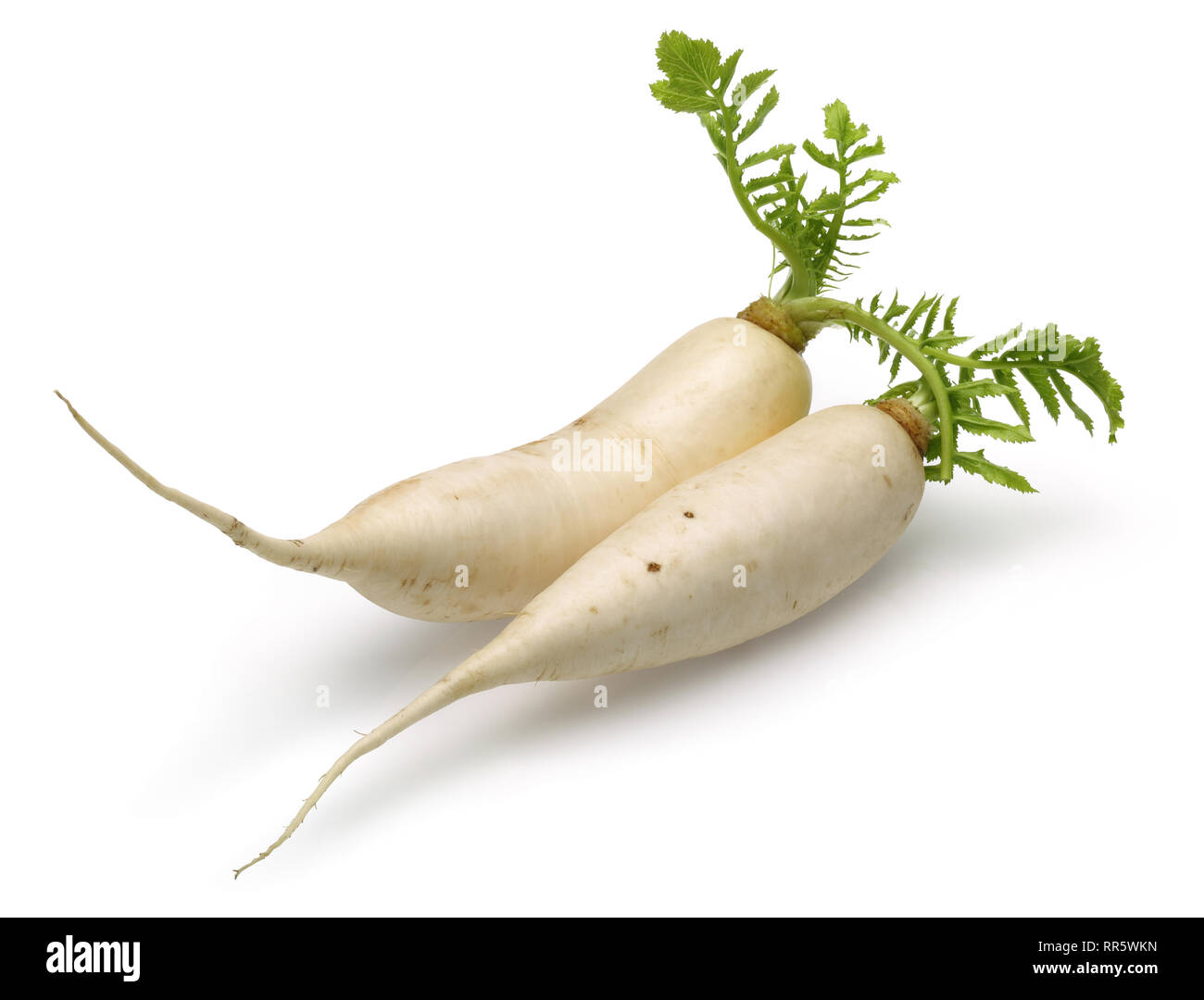 Fresh daikon white radish with leaves isolated on white background Stock Photo