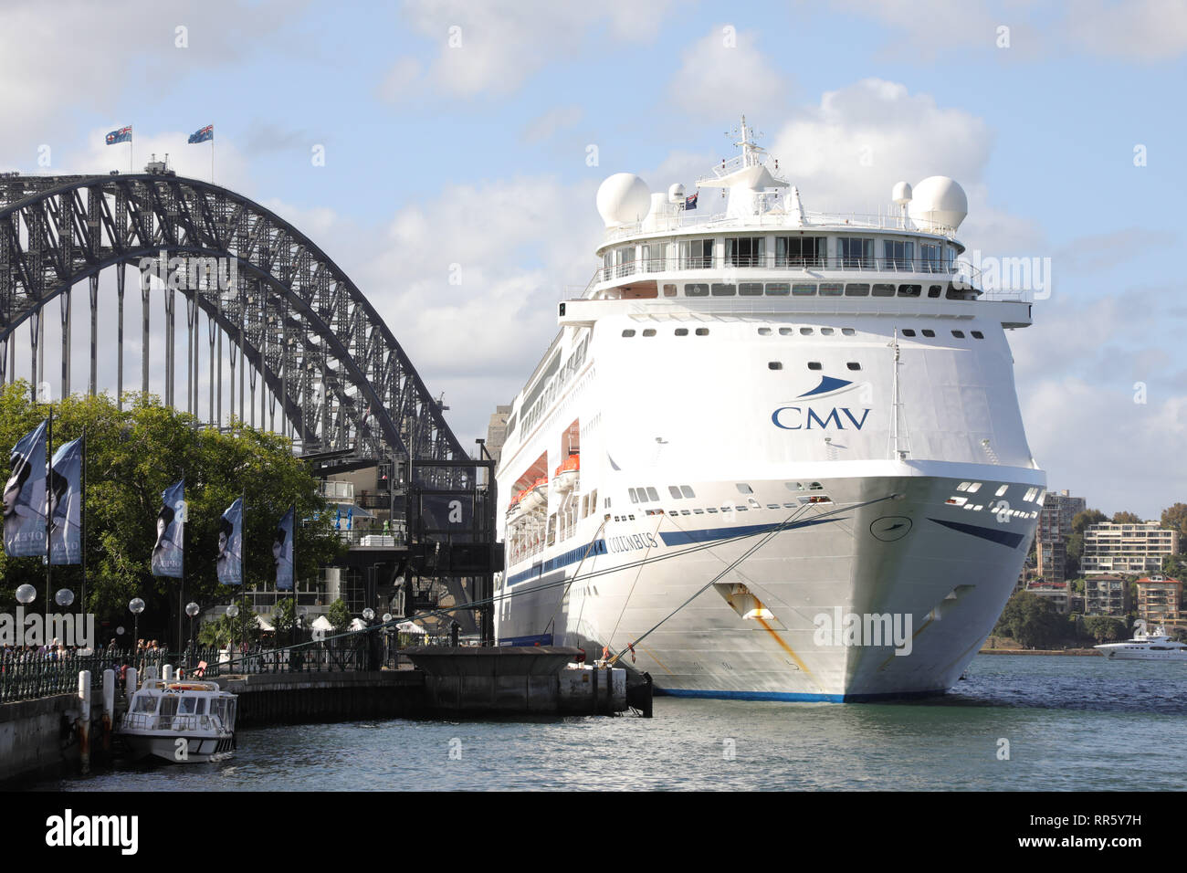 Cruise & Maritime Voyages' MV Columbus cruise ship moored at the Overseas Passenger Terminal in Sydney, Australia. Stock Photo