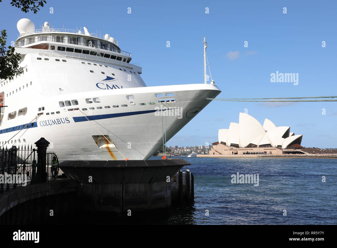 Cruise & Maritime Voyages' MV Columbus cruise ship moored at the Overseas Passenger Terminal in Sydney, Australia. - Stock Image