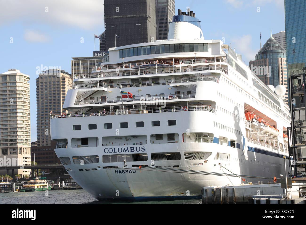 Cruise & Maritime Voyages' MV Columbus cruise ship moored at the Overseas Passenger Terminal in Sydney, Australia. - Stock Image