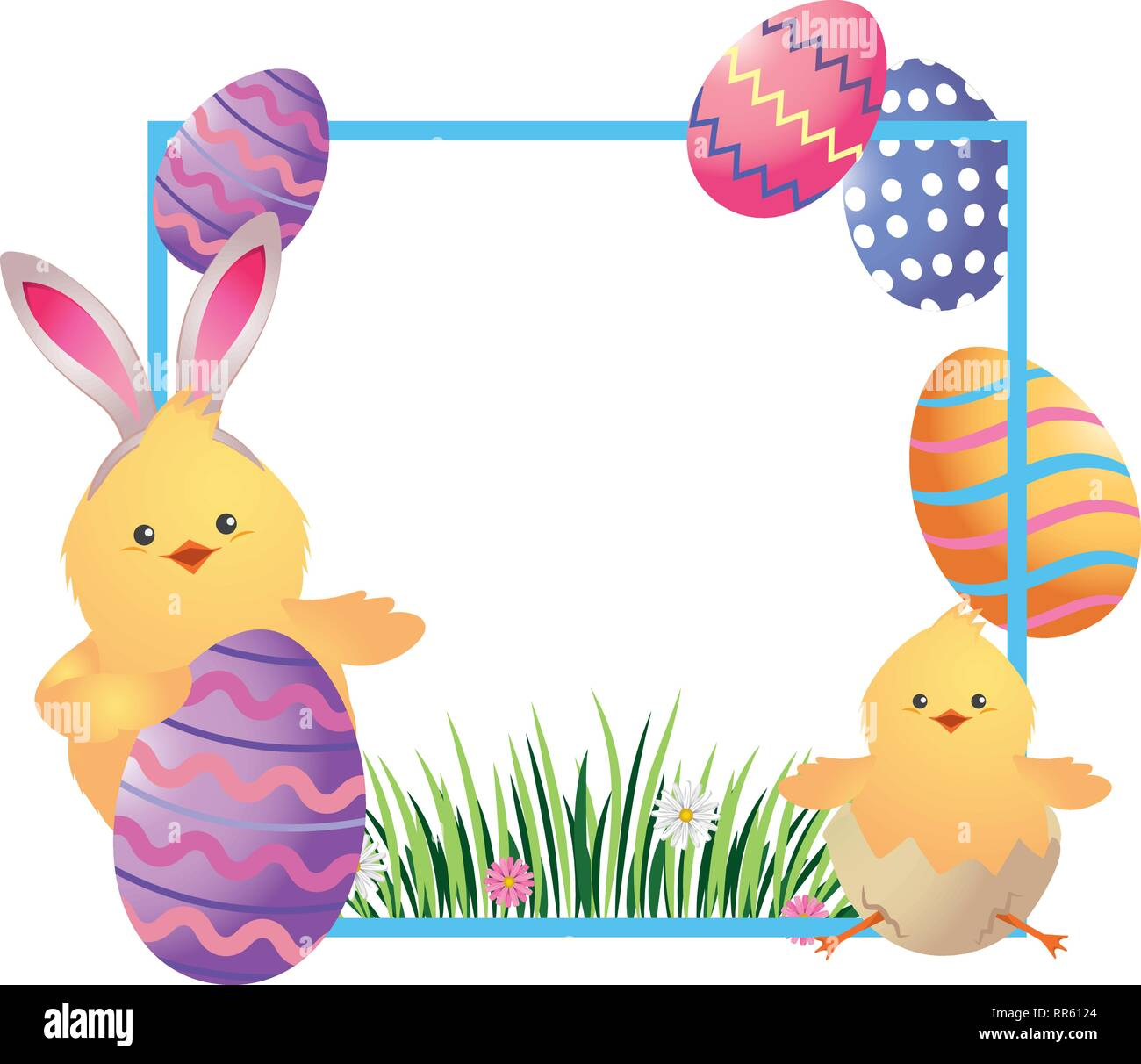 easter chickens cartoon - Stock Image