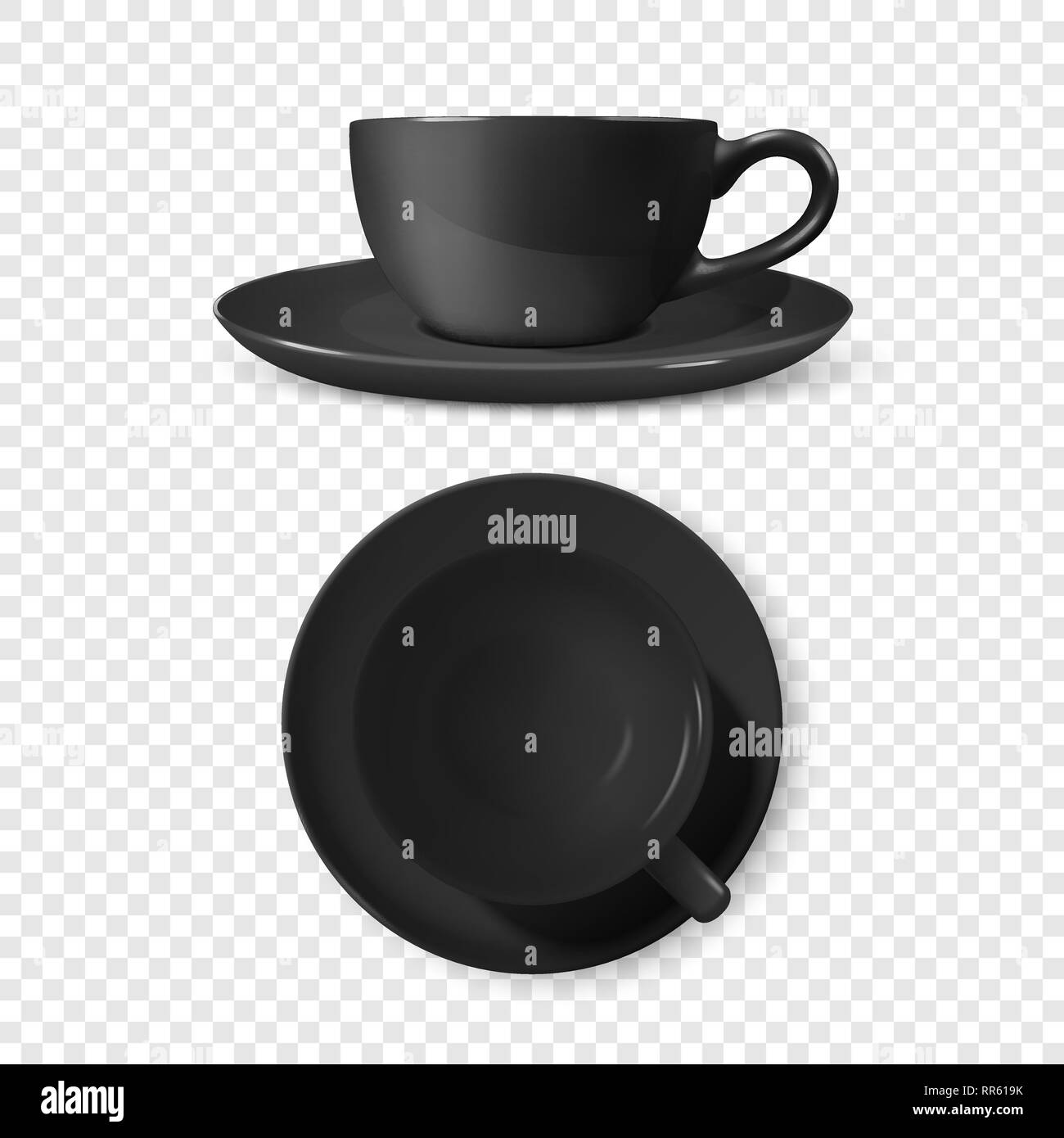 Realistic Vector 3d Glossy Blank Black Coffee Tea Cup Mug Set Closeup Isolated Design Template Of Porcelain Cup Or Mug And Saucer Plate For Branding Stock Vector Image Art Alamy