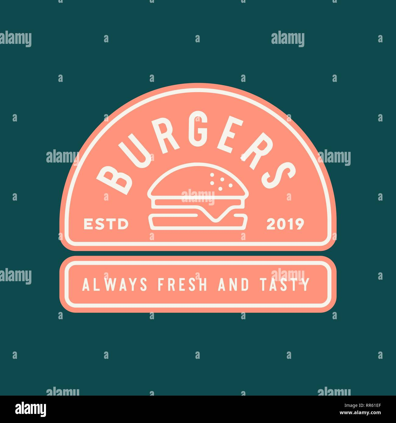 burger logo. retro styled fast food emblem, badge. - Stock Vector