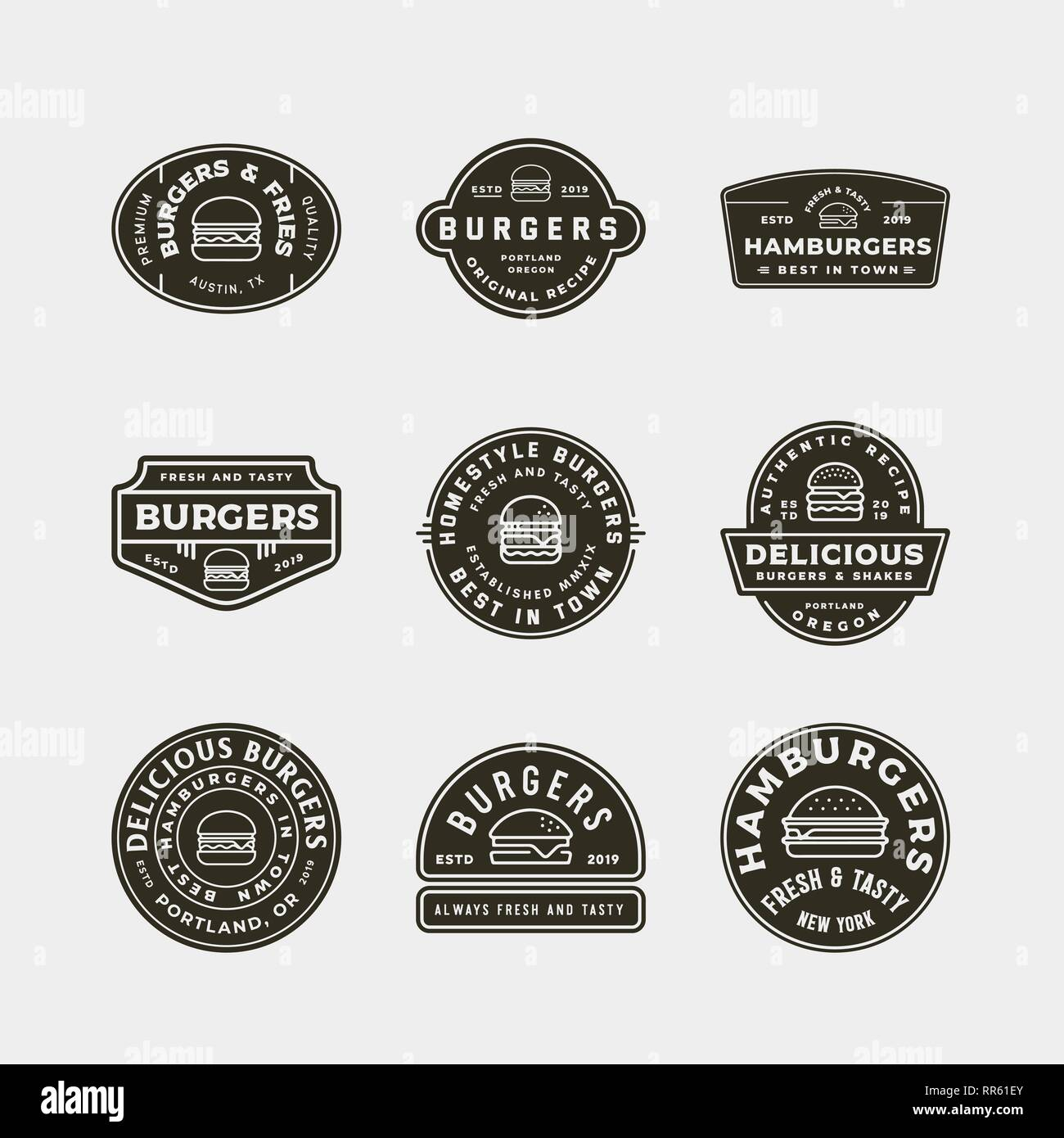set of burger logos. retro styled fast food emblems - Stock Vector